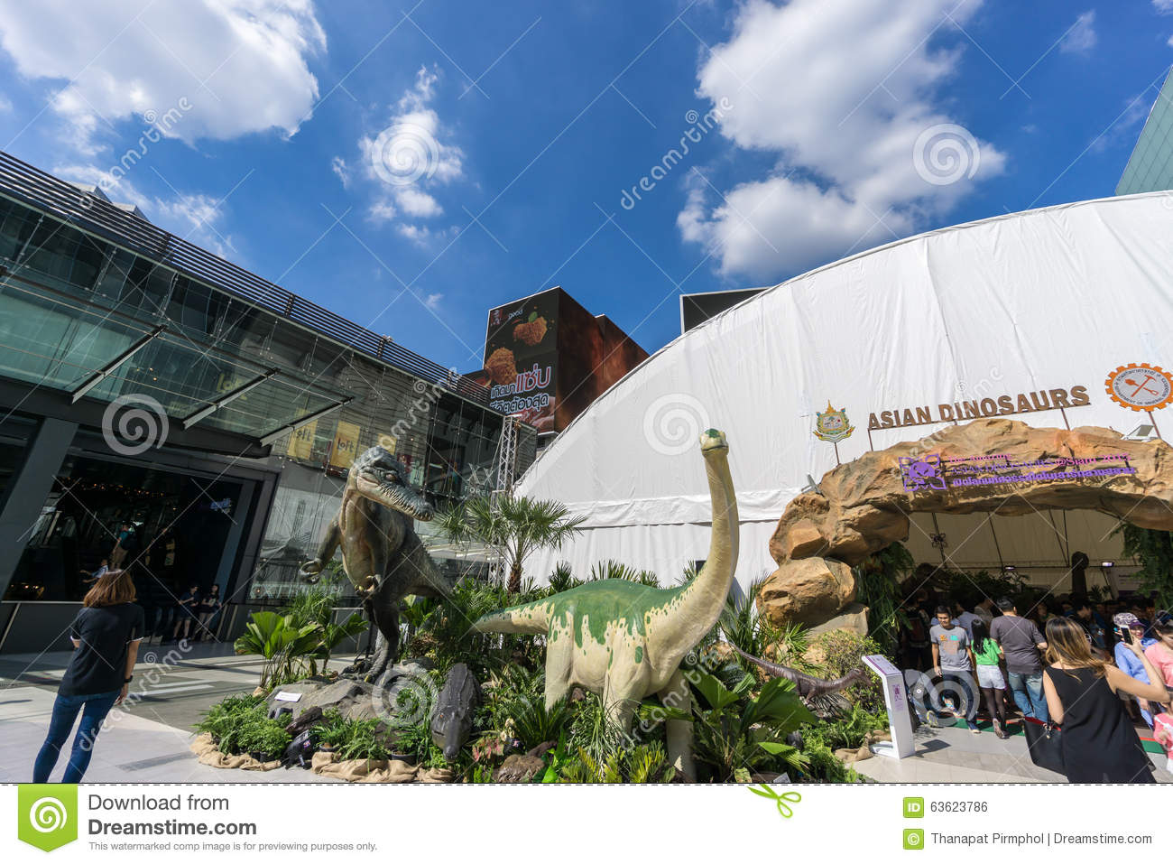 Bangkok, Thailand - 29 November 2015 : The Outdoor Exhibition Asian Dinosaurs in front of Siam Paragon (Luxury Shopping Mall at th