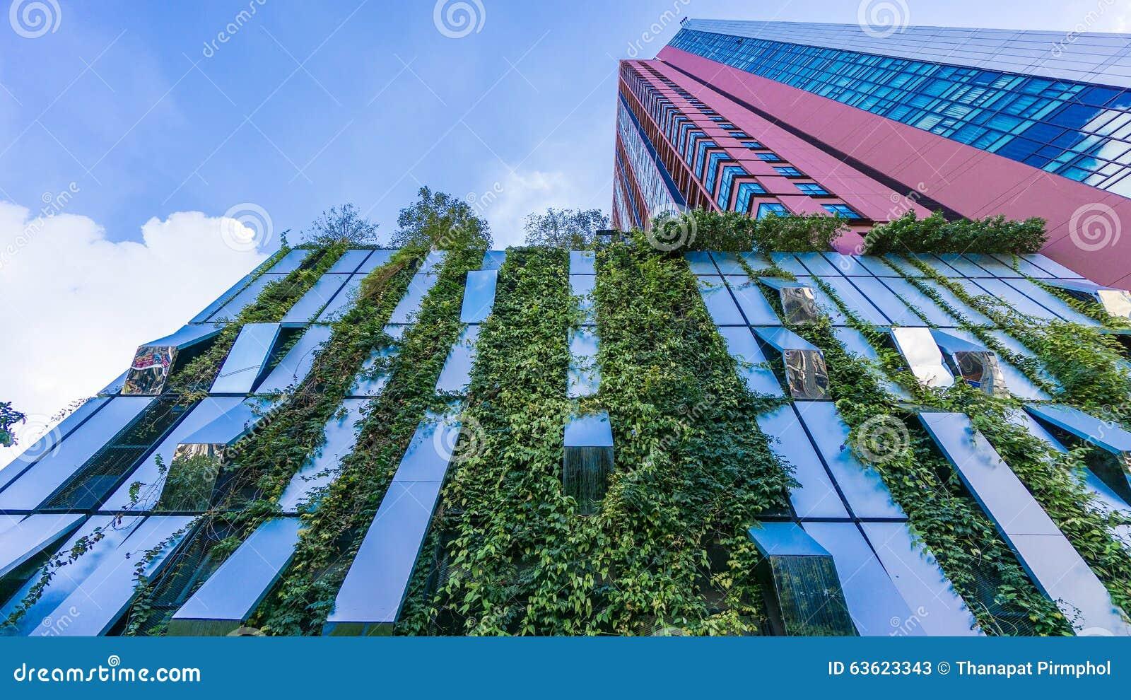 Bangkok, Thailand - 22 November 2015 : Vertical Garden of Wyne Sukhumvit (the high-end condominium) at the Sukhumvit mid-town