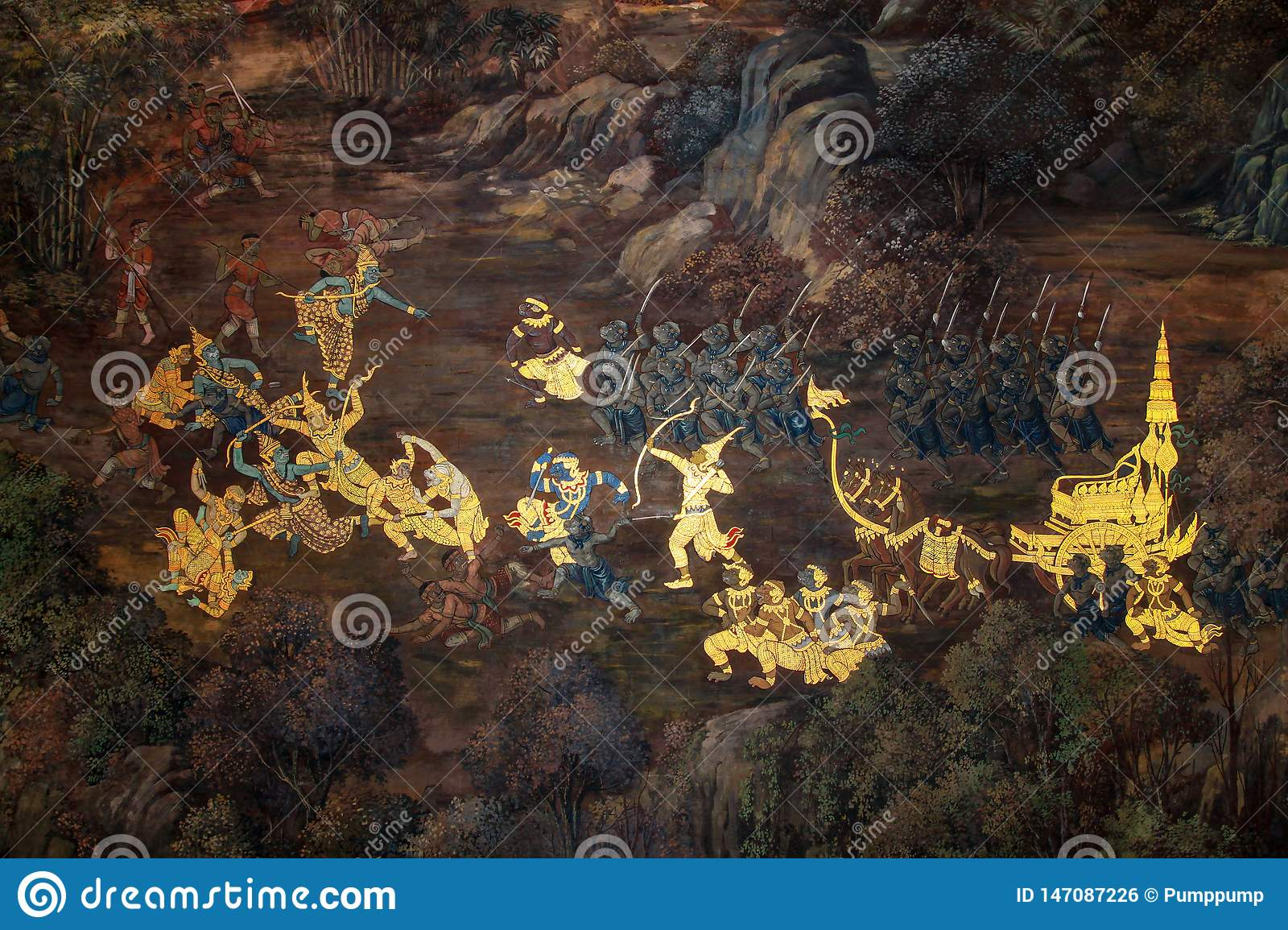 Bangkok,Thailand-October 8,2010: Oil painting in wat phra kaew is the beautiful from thai artist at thailand