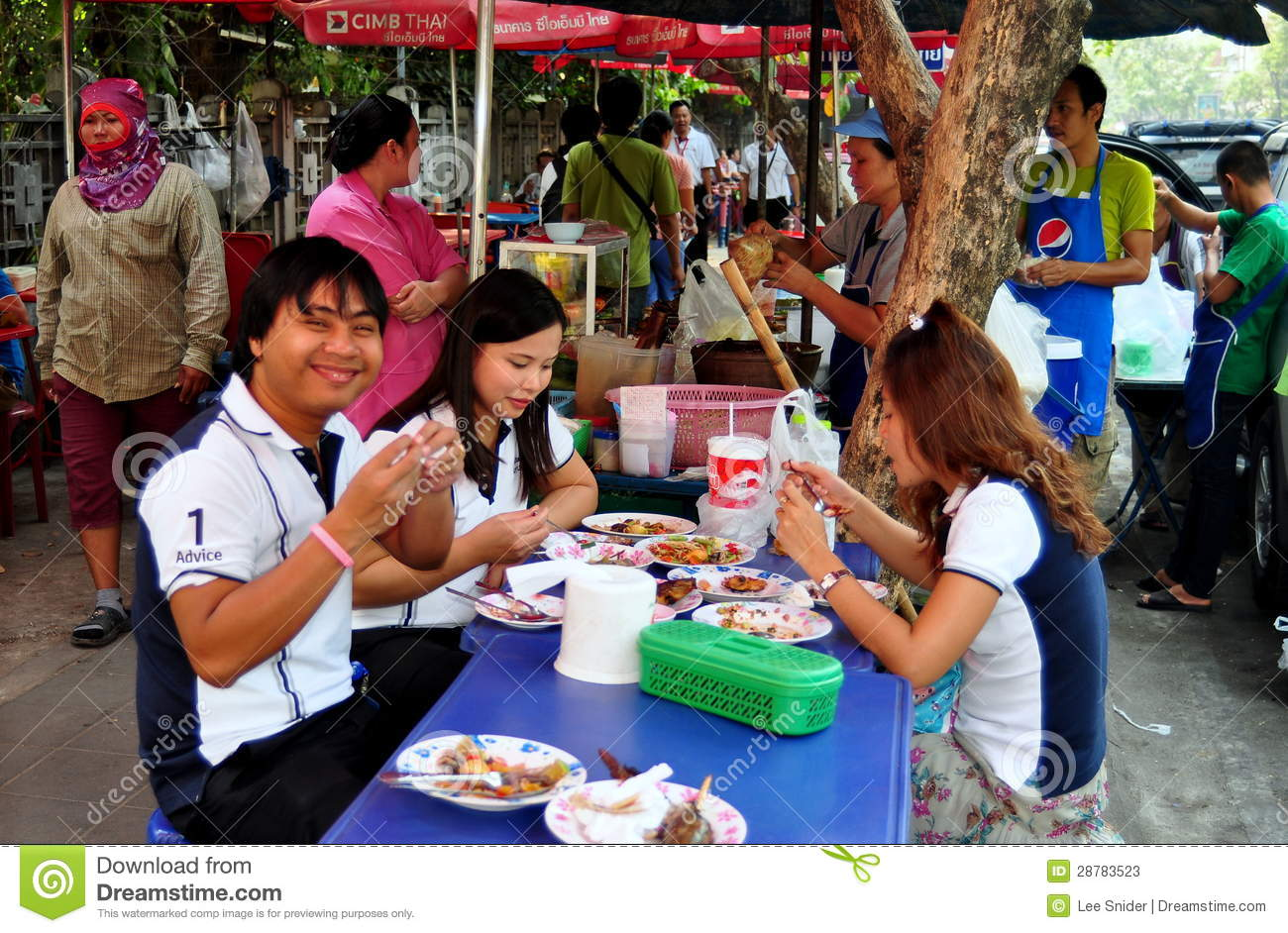Bangkok Thailand People Dining On Sidewalk Editorial