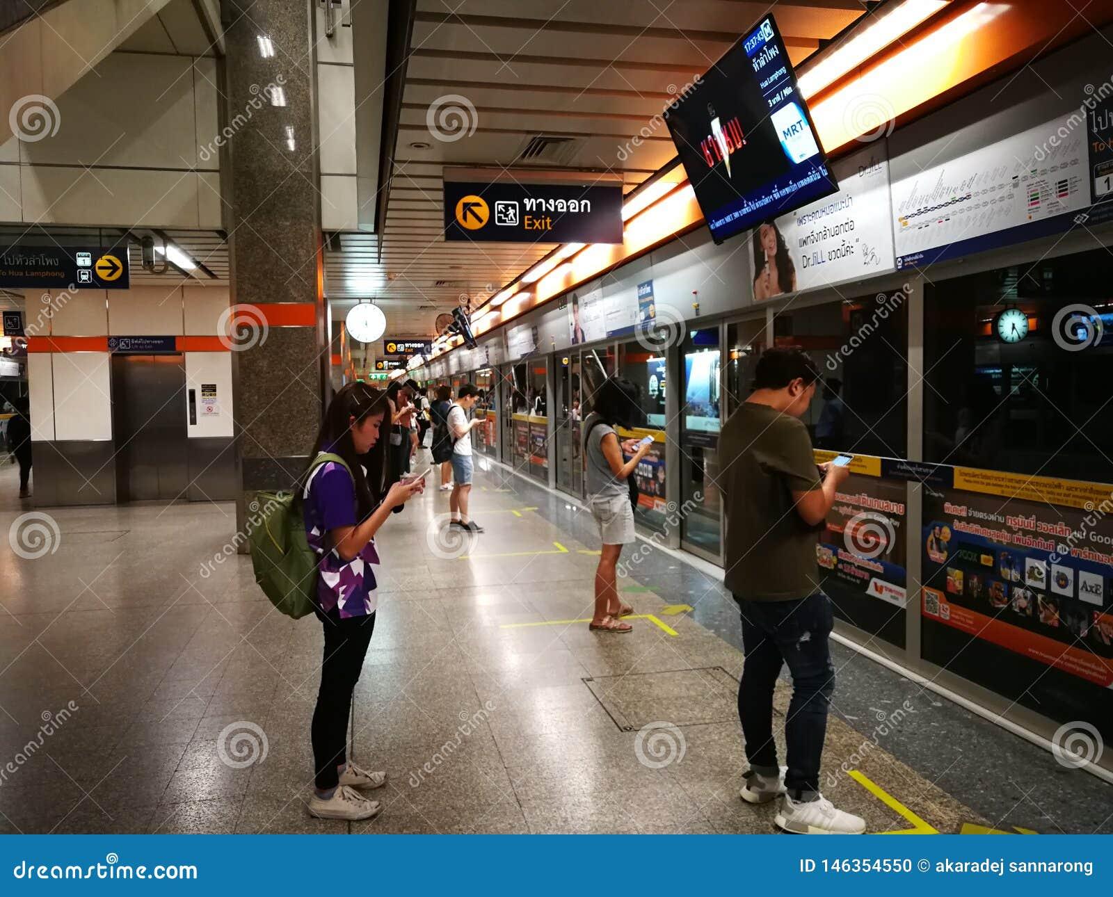 Bangkok Thailand People waiting for the subway