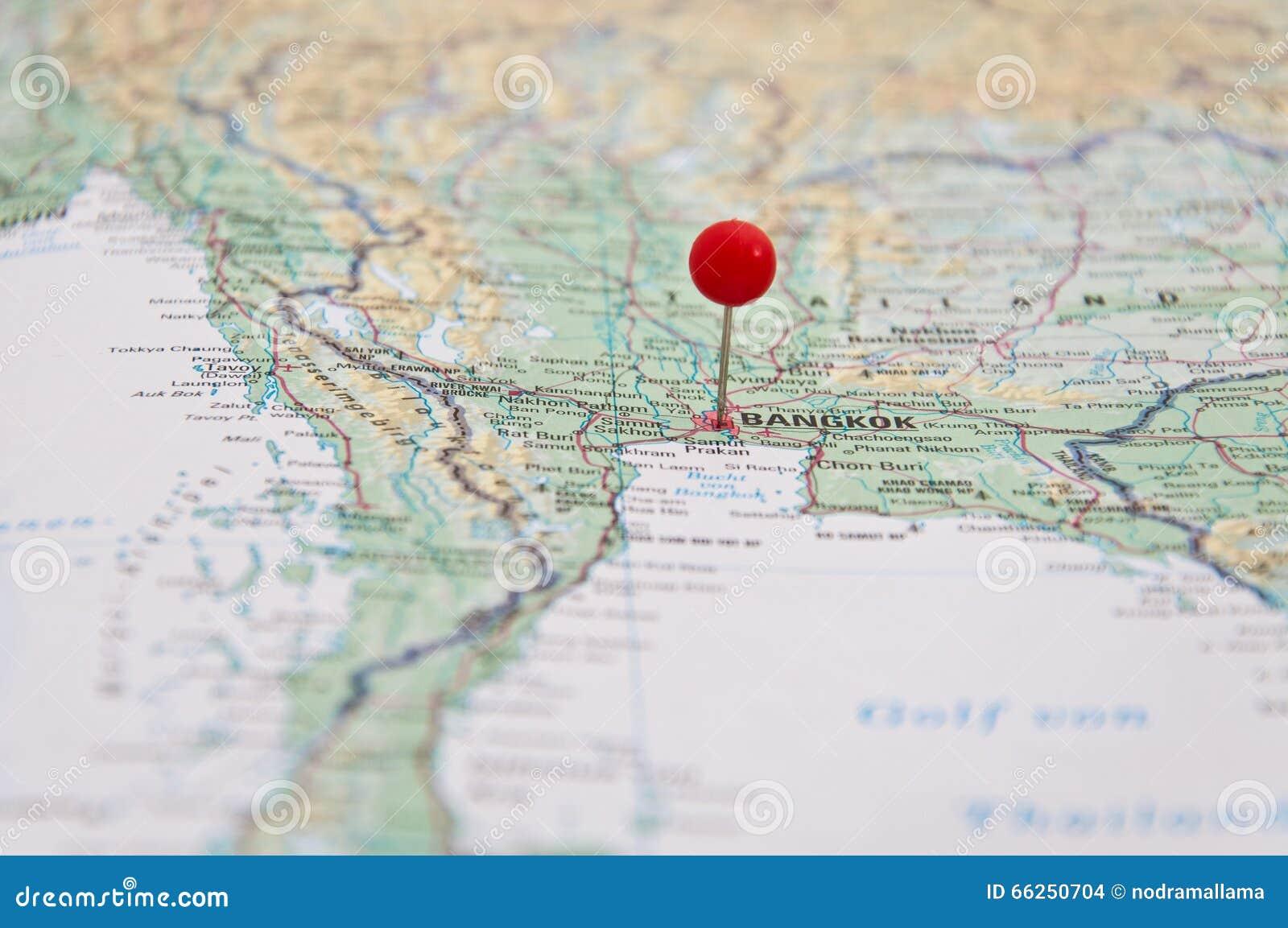 Bangkok Thailand Red Pin Close Up Map Stock Image of