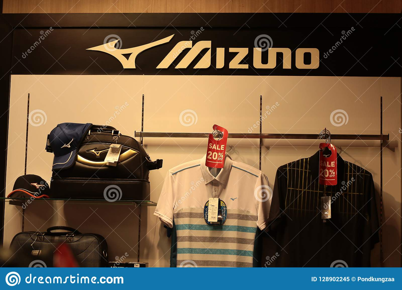 Bangkok Thailand-Sep2018: Mizuno brand shirts bag and hat , shop at department store