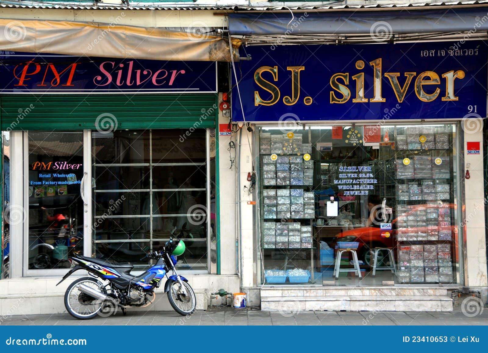 Bangkok Thailand Silver Shops Near Khao San Rd Editorial
