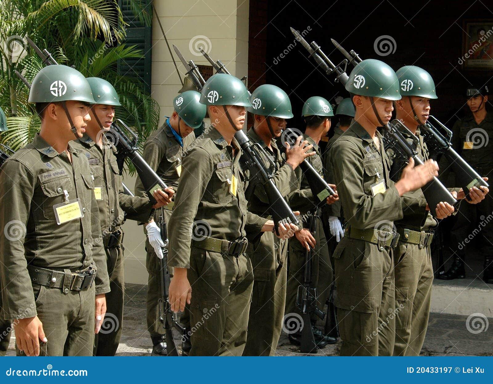 Bangkok, Thailand: Soldiers at Royal Palace