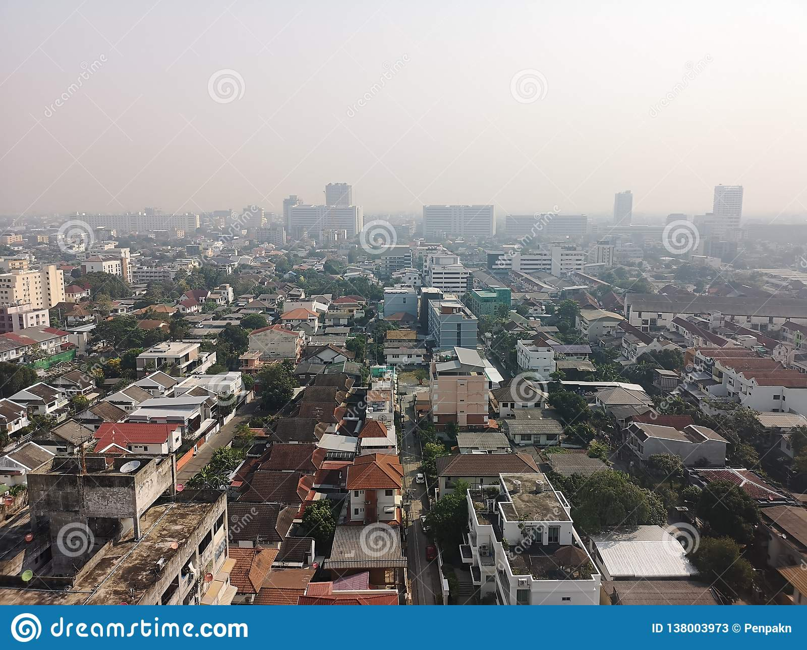 Bangkok Thailand The weather is not bright toxic smoke this morning