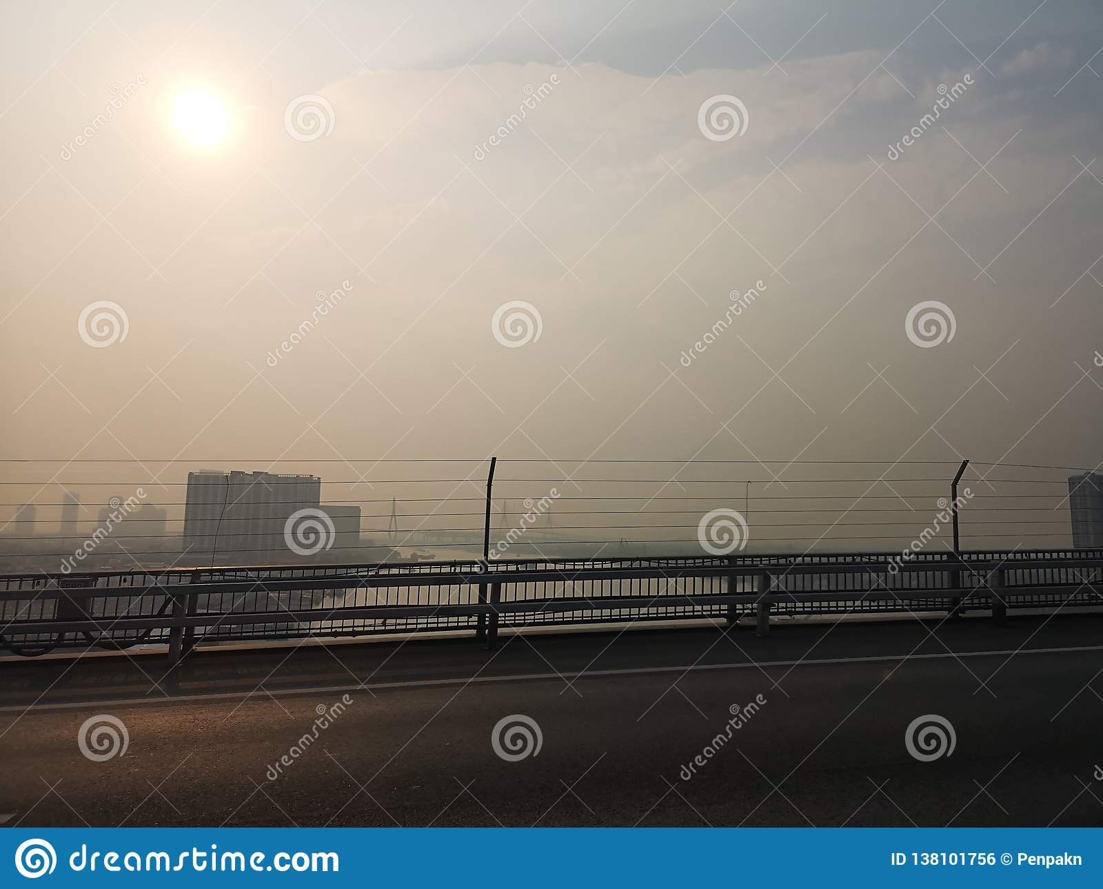 Bangkok Thailand The​ weather is​ not​ ​bright toxic smoke this morning