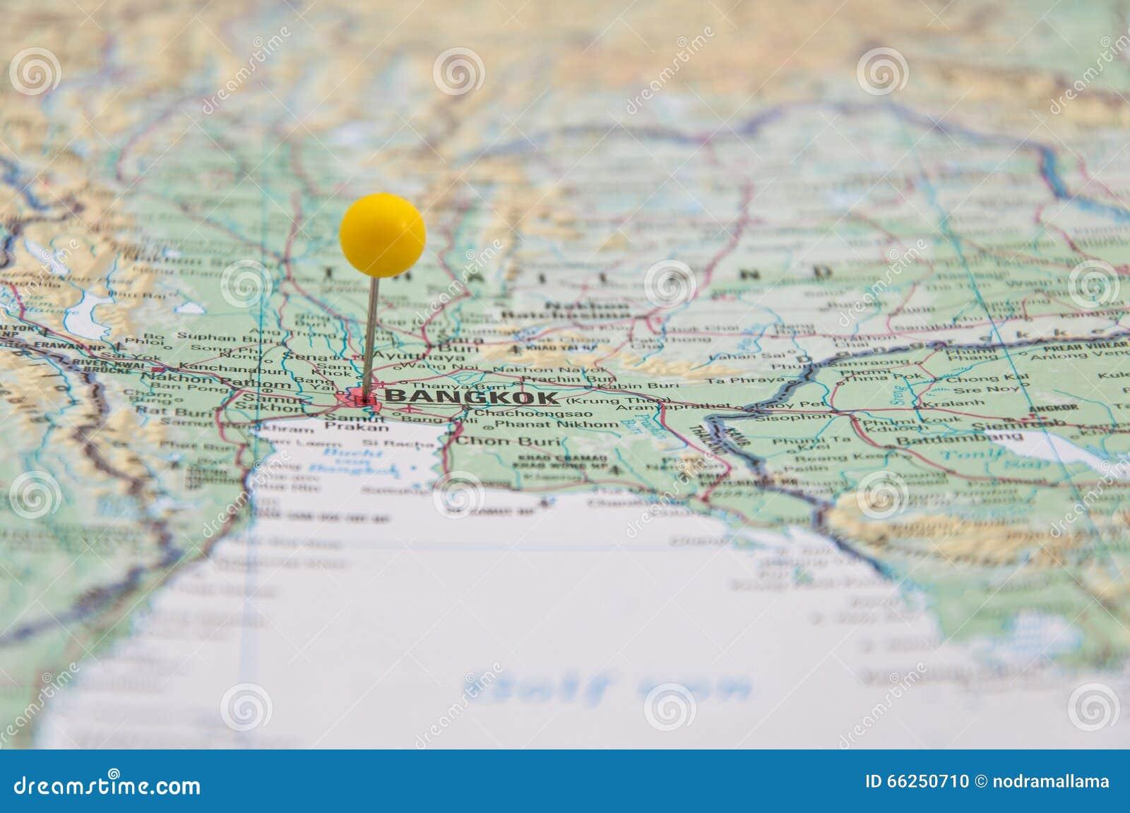 Bangkok, Thailand, Yellow Pin, Close-Up of Map.
