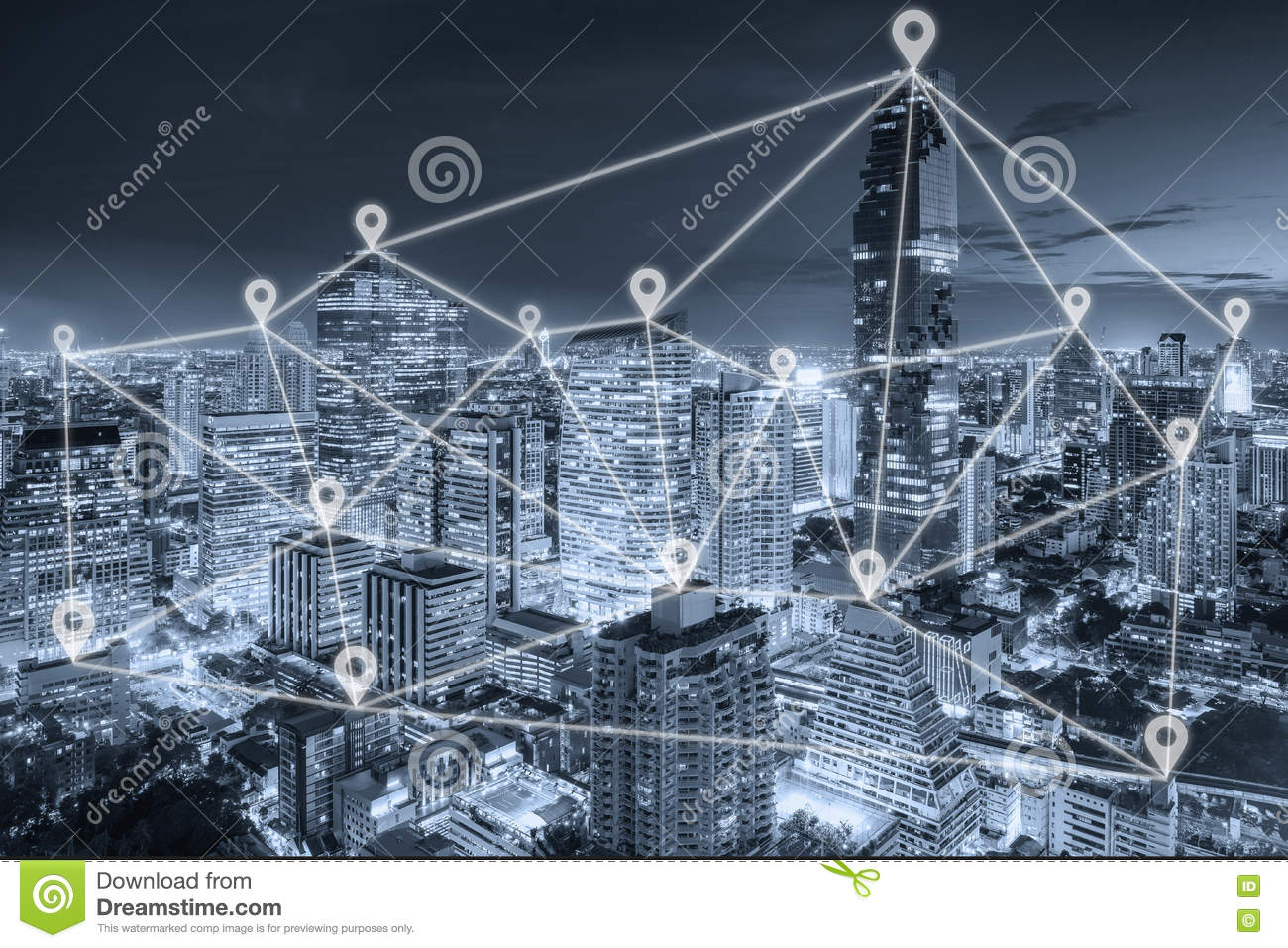 Bangkok view in business district with map pin flat network