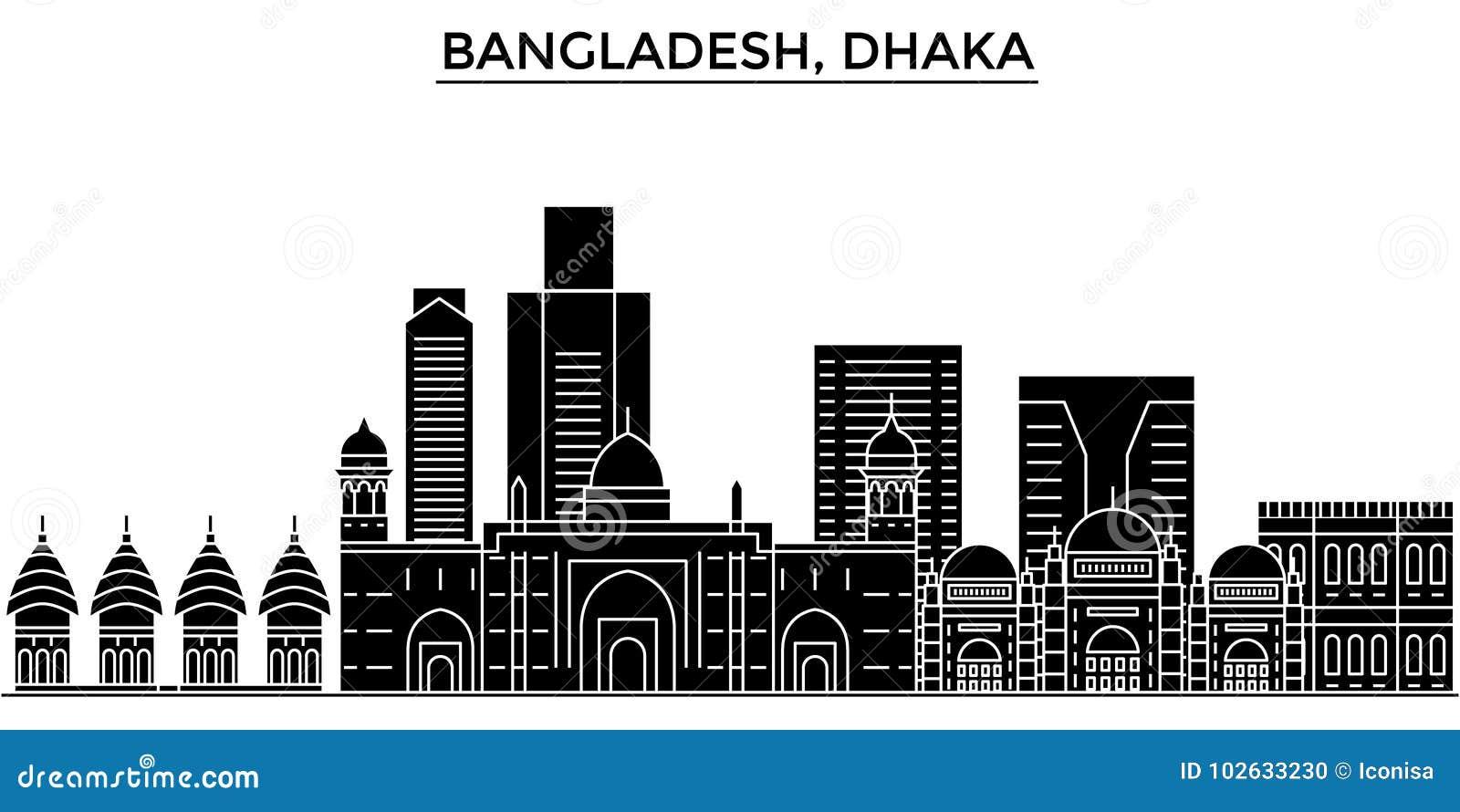 Dhaka City Skyline Black And White Silhouette Cartoon