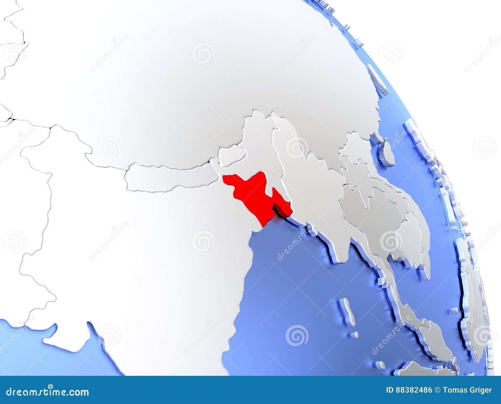 Bangladesh On Elegant Globe Stock Illustration - Illustration of ...