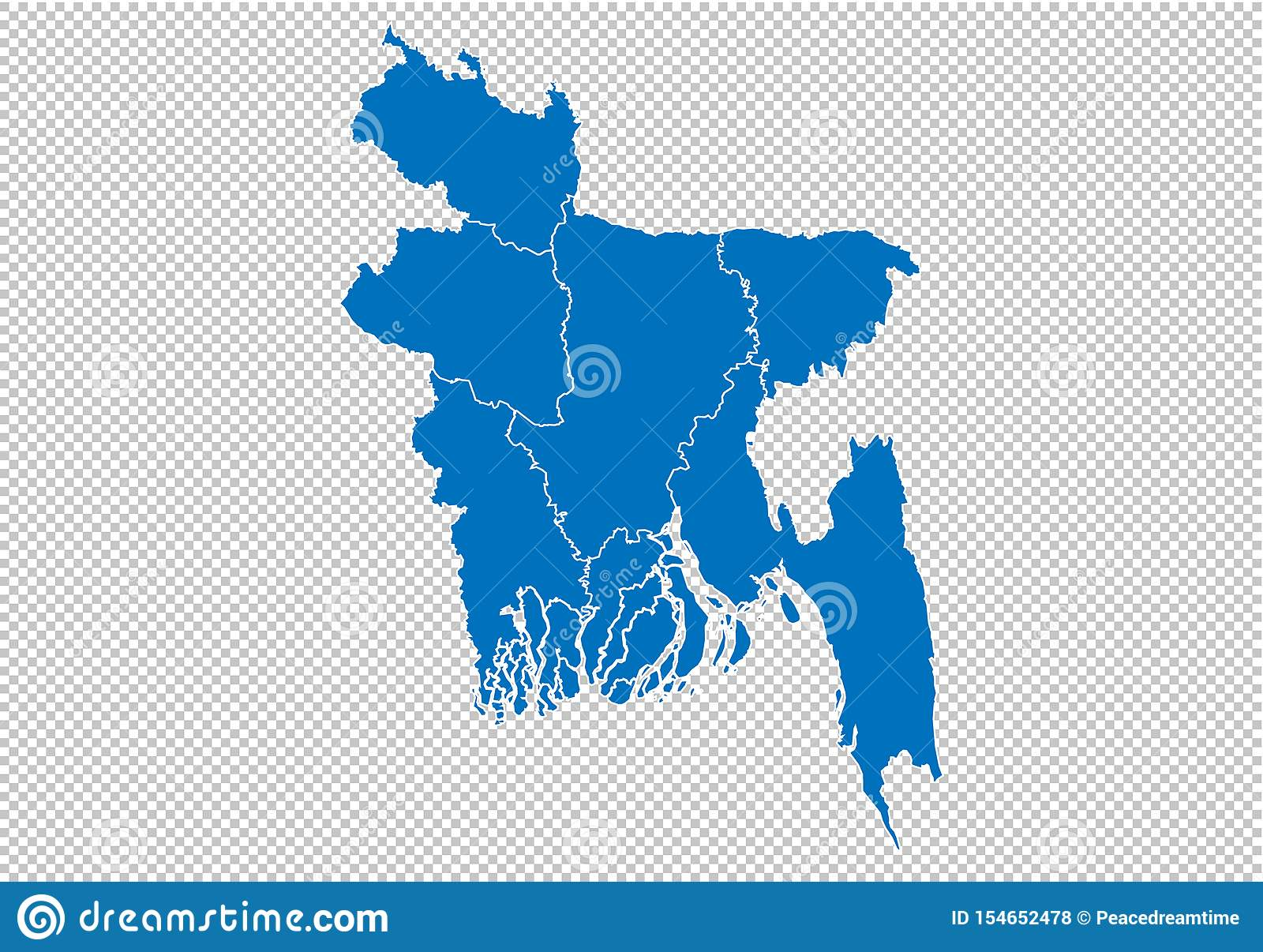 Bangladesh Map - High Detailed Blue Map With Counties ...