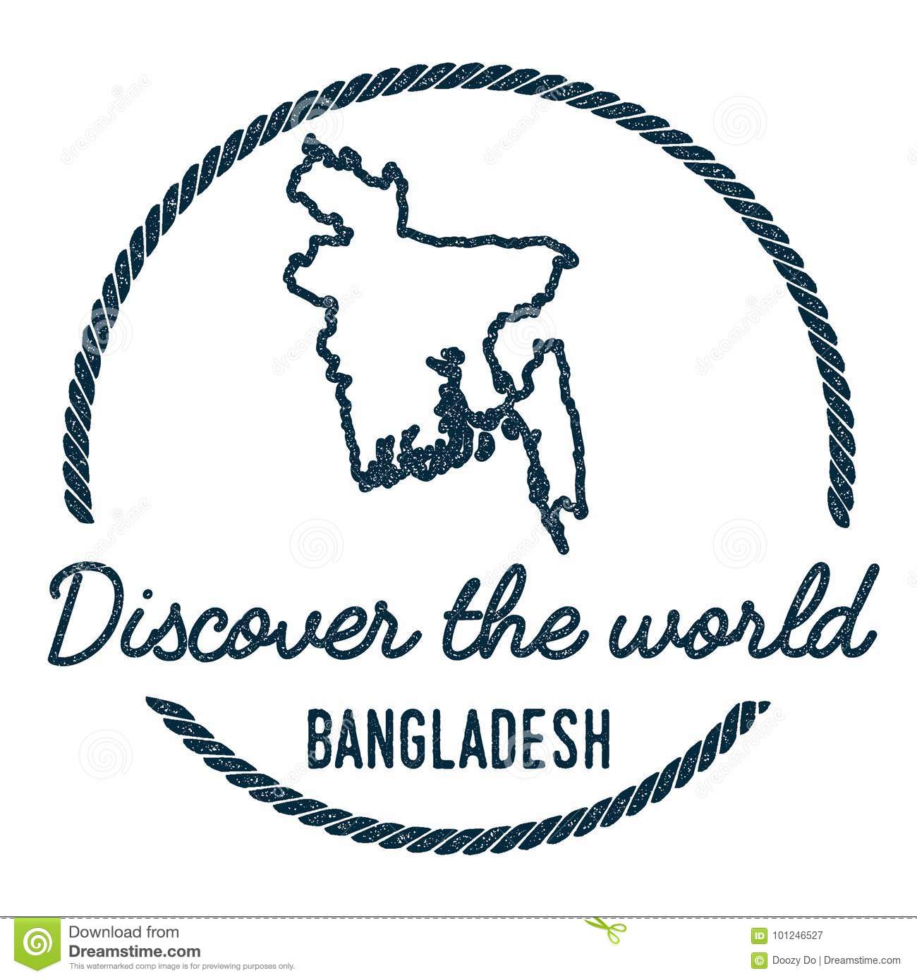 Bangladesh Map Outline Vintage Discover The Stock Vector