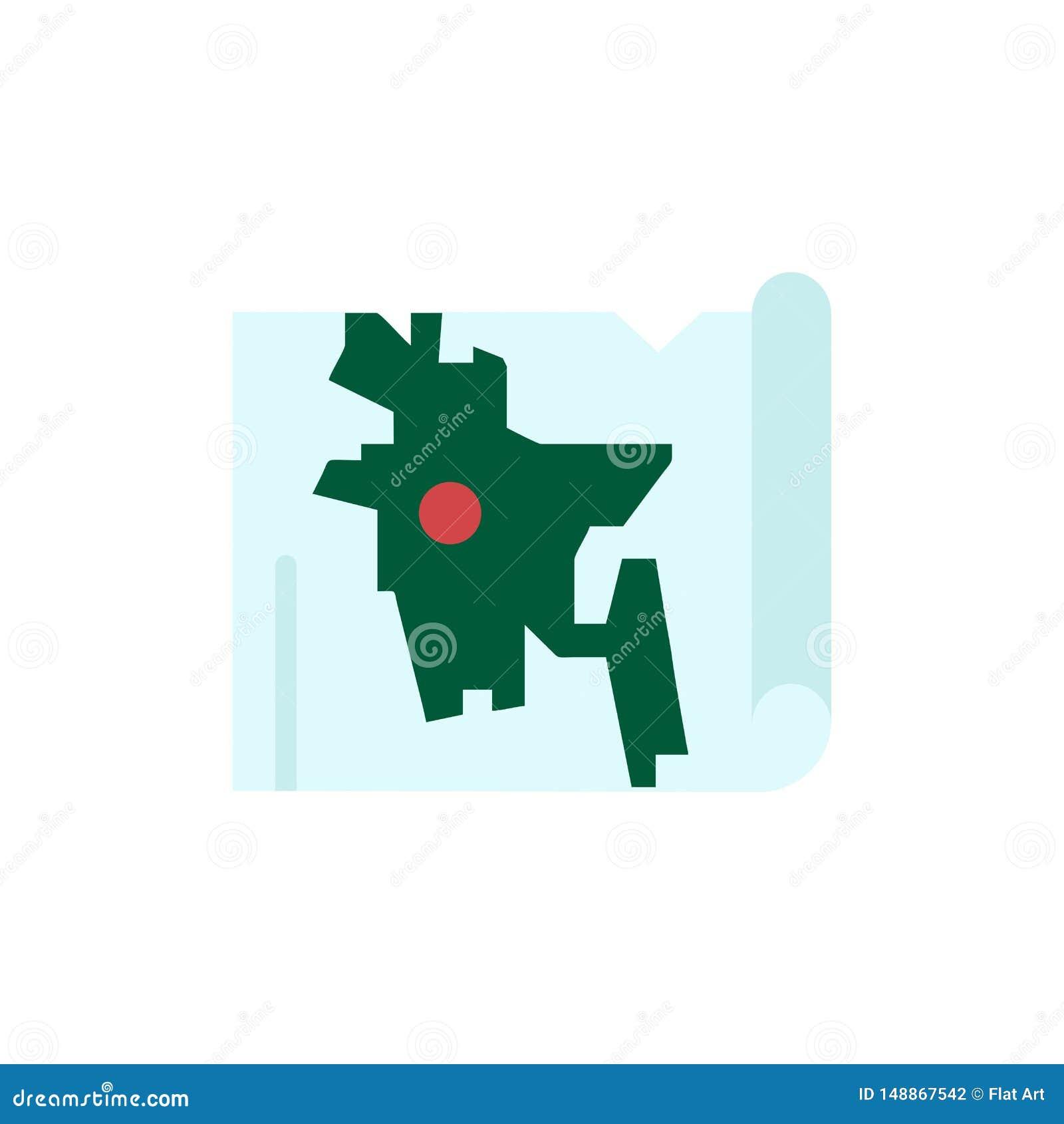 Bangladesh, mapa, mundo, icono plano del color de Bangla Plantilla de la bandera del icono del vector
