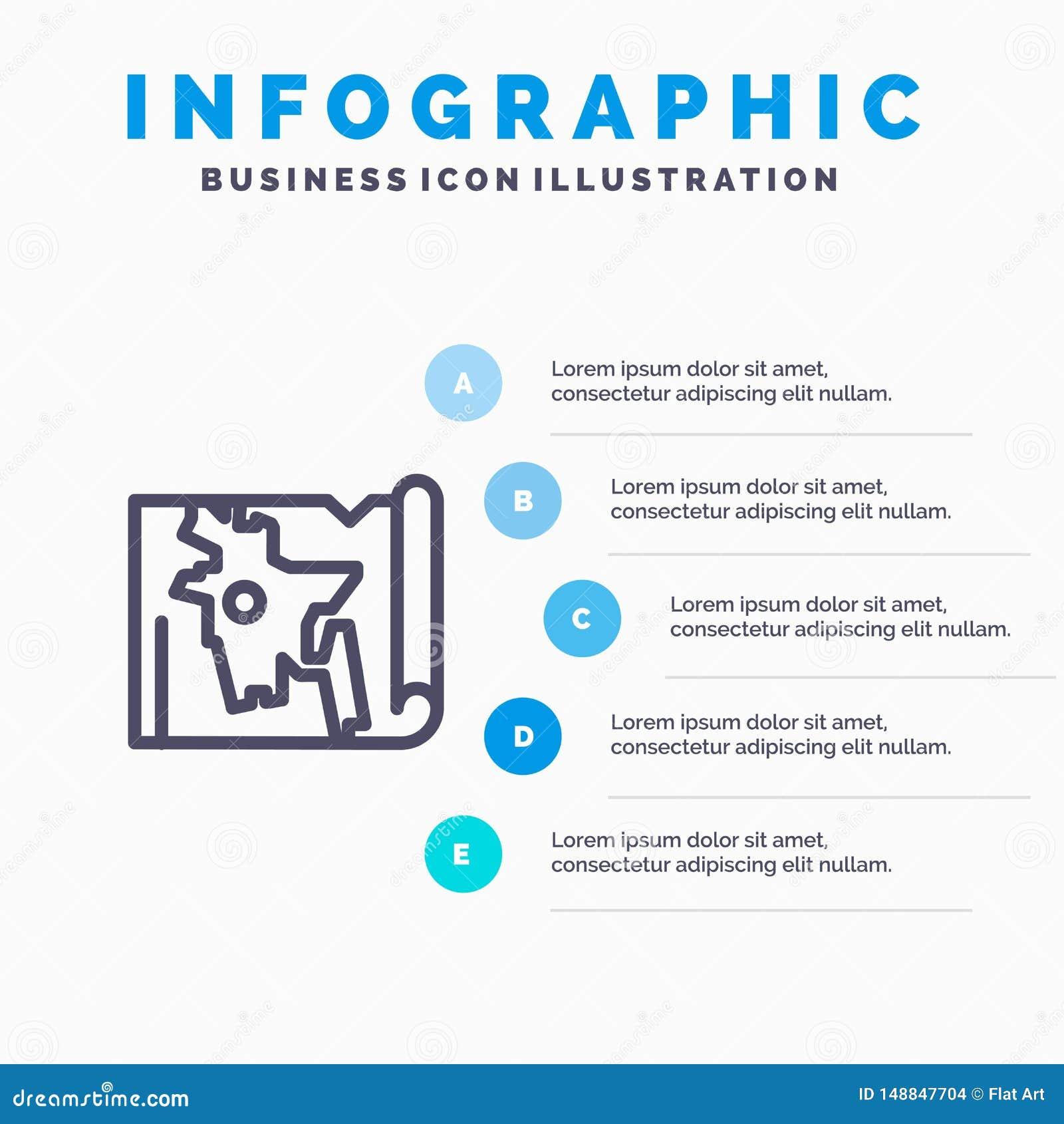 Bangladesh, mapa, mundo, línea icono de Bangla con el fondo del infographics de la presentación de 5 pasos