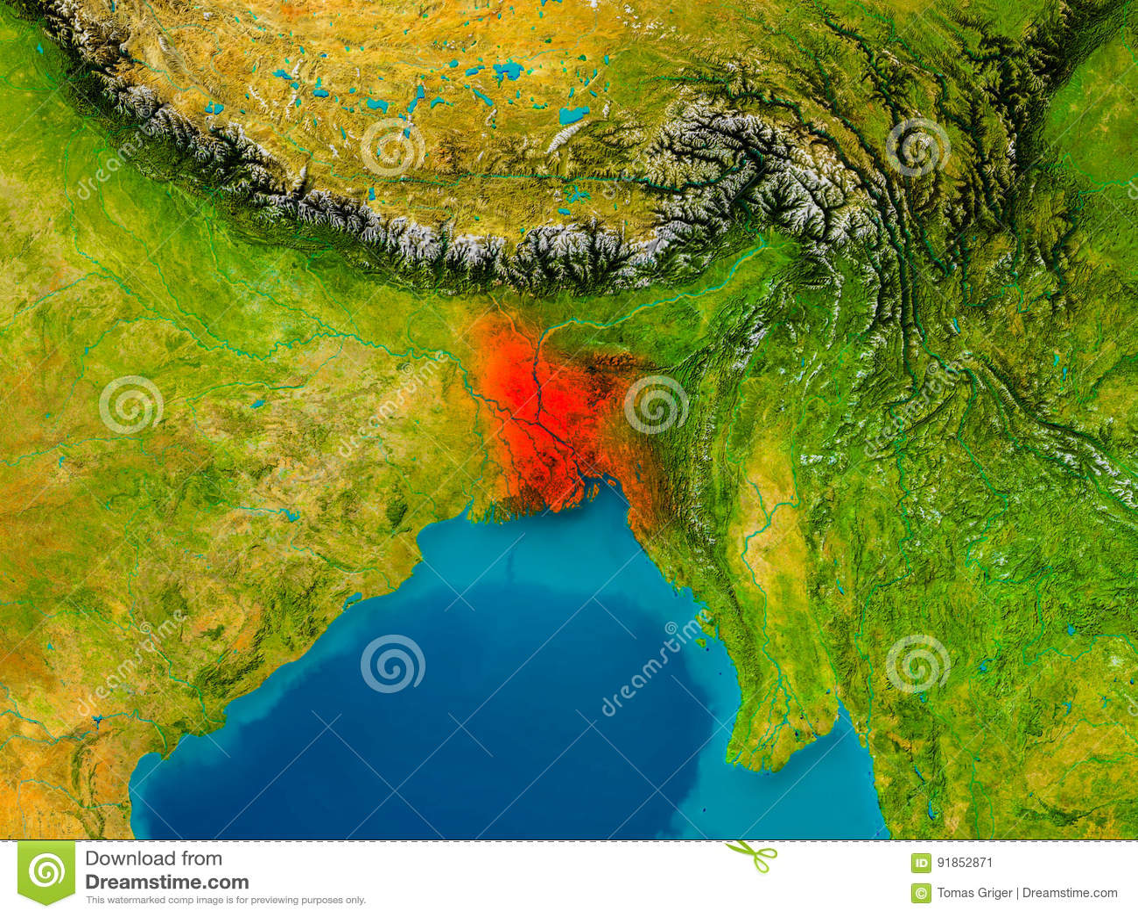 Word Descargar Bangladesh On Physical Map Stock Illustration ...