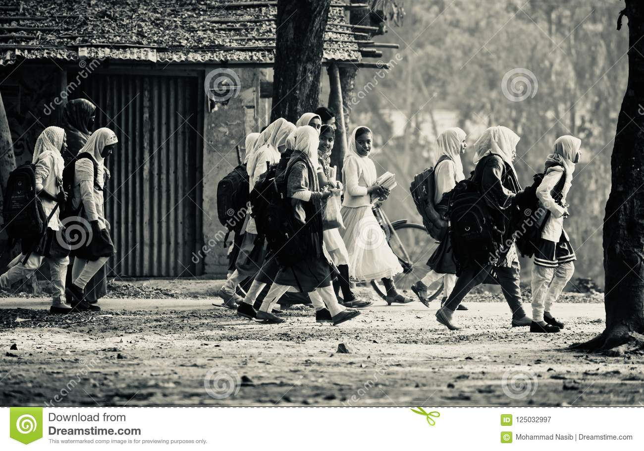 Download Young Girls Are Walking Together To Attend The Village School Editorial Photography - Image of school, photograph: 125032997