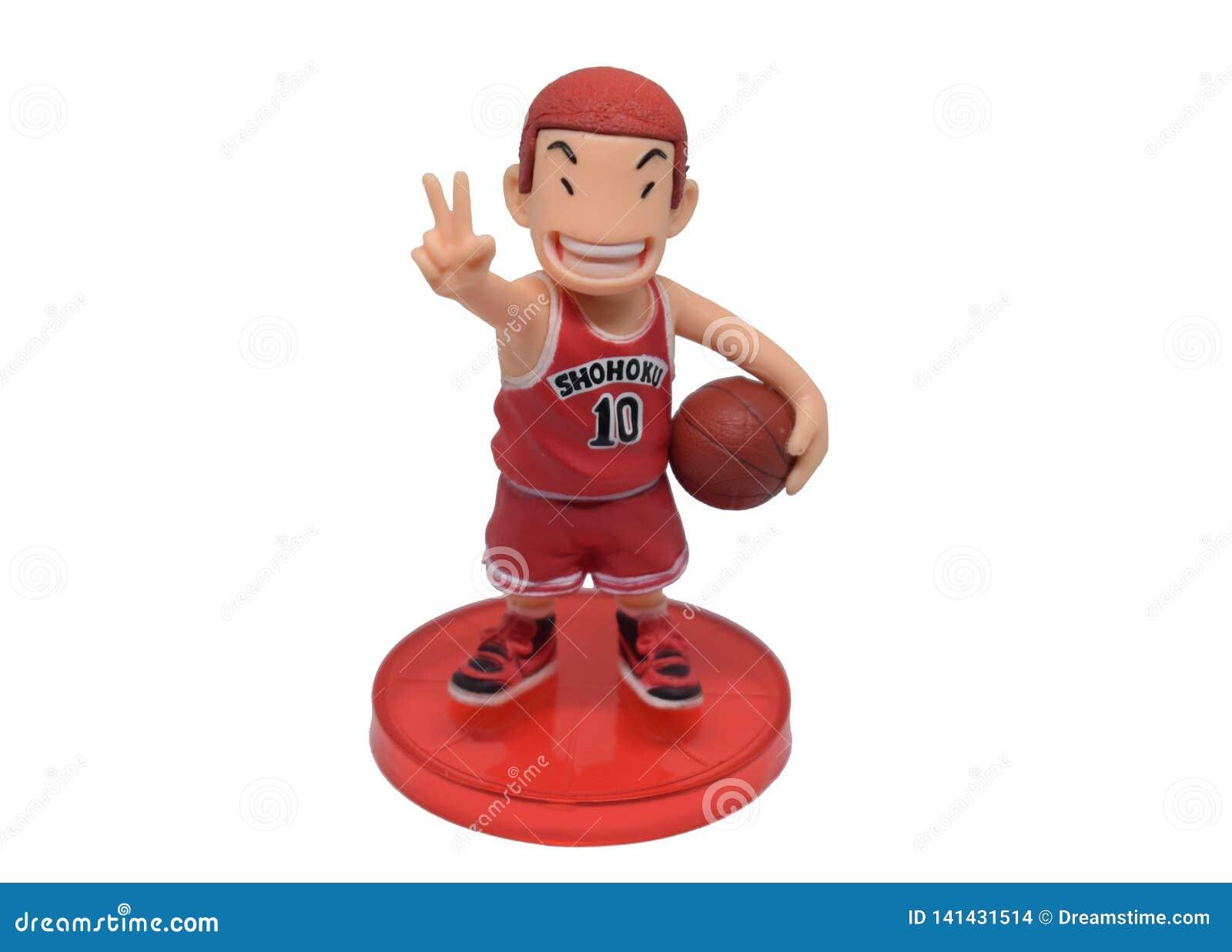Banguecoque, Tailândia - 6 de março de 2019: Caráter do brinquedo da equipe de Shohoku do jogador de basquetebol de Sakuragi Hana