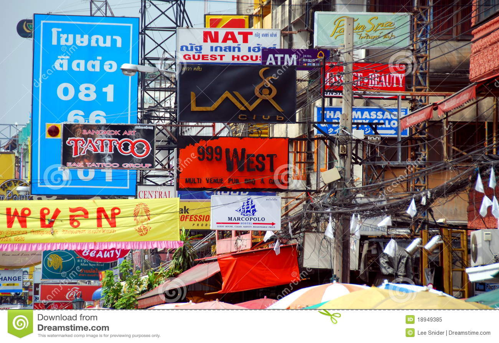 Banguecoque, Tailândia: Sinais de estrada de Khao San