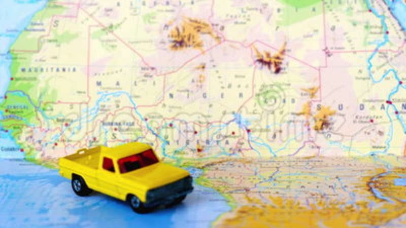 North And Central Africa Map Yellow Pickup Truck Stock Footage ...