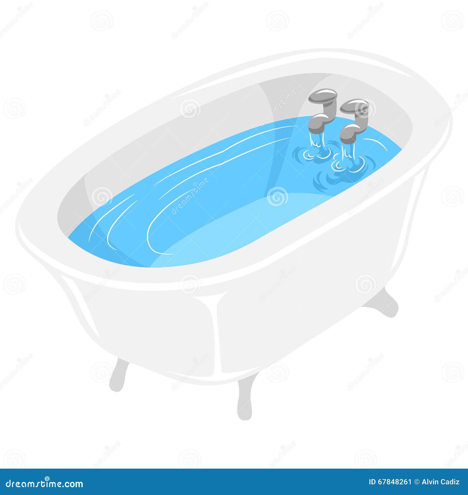 Banheira enchida com água