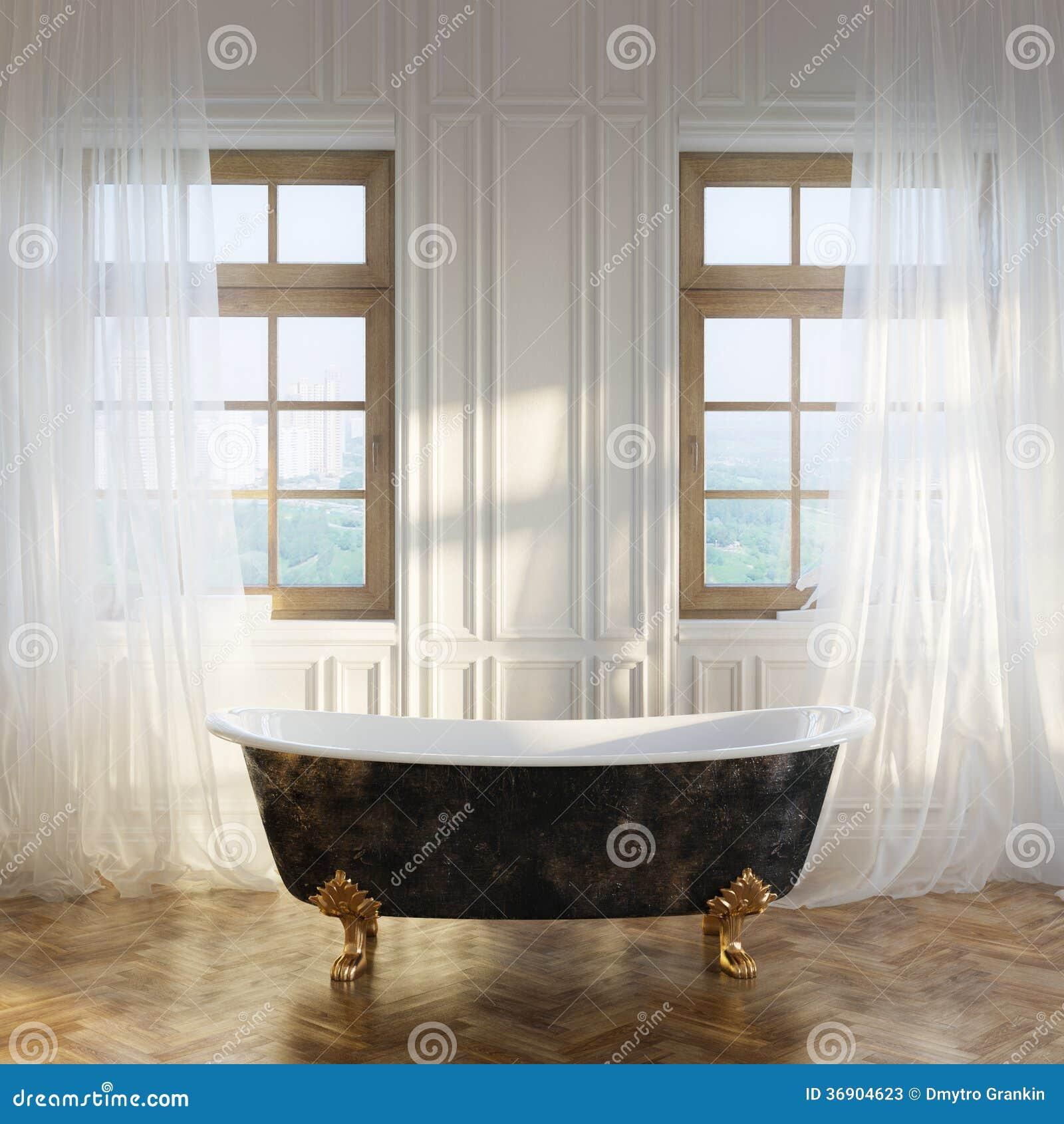 Banheira Retro Luxuosa Versão Do Interior Moderno Da Sala Na ?a Fotos  #83A427 1300x1390 Banheiro Com Banheira Retro