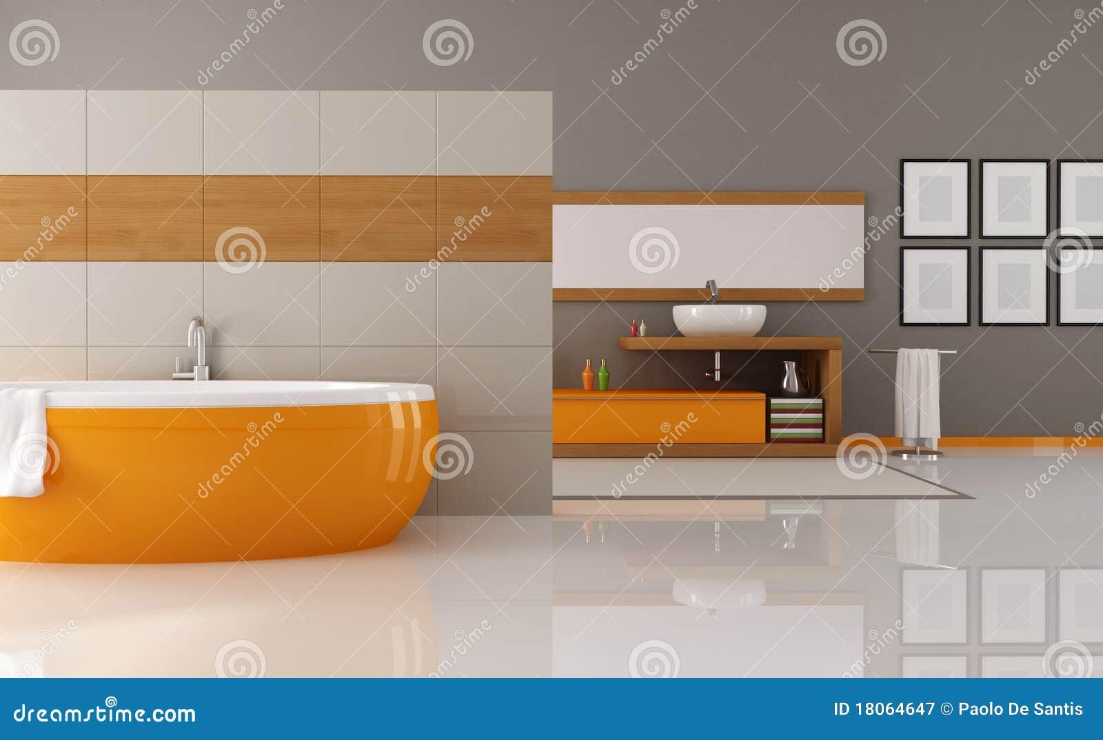 Banheiro Alaranjado E Marrom Fotografia de Stock Royalty Free Imagem  #B24F03 1300x889 Banheiro Amarelo E Marrom