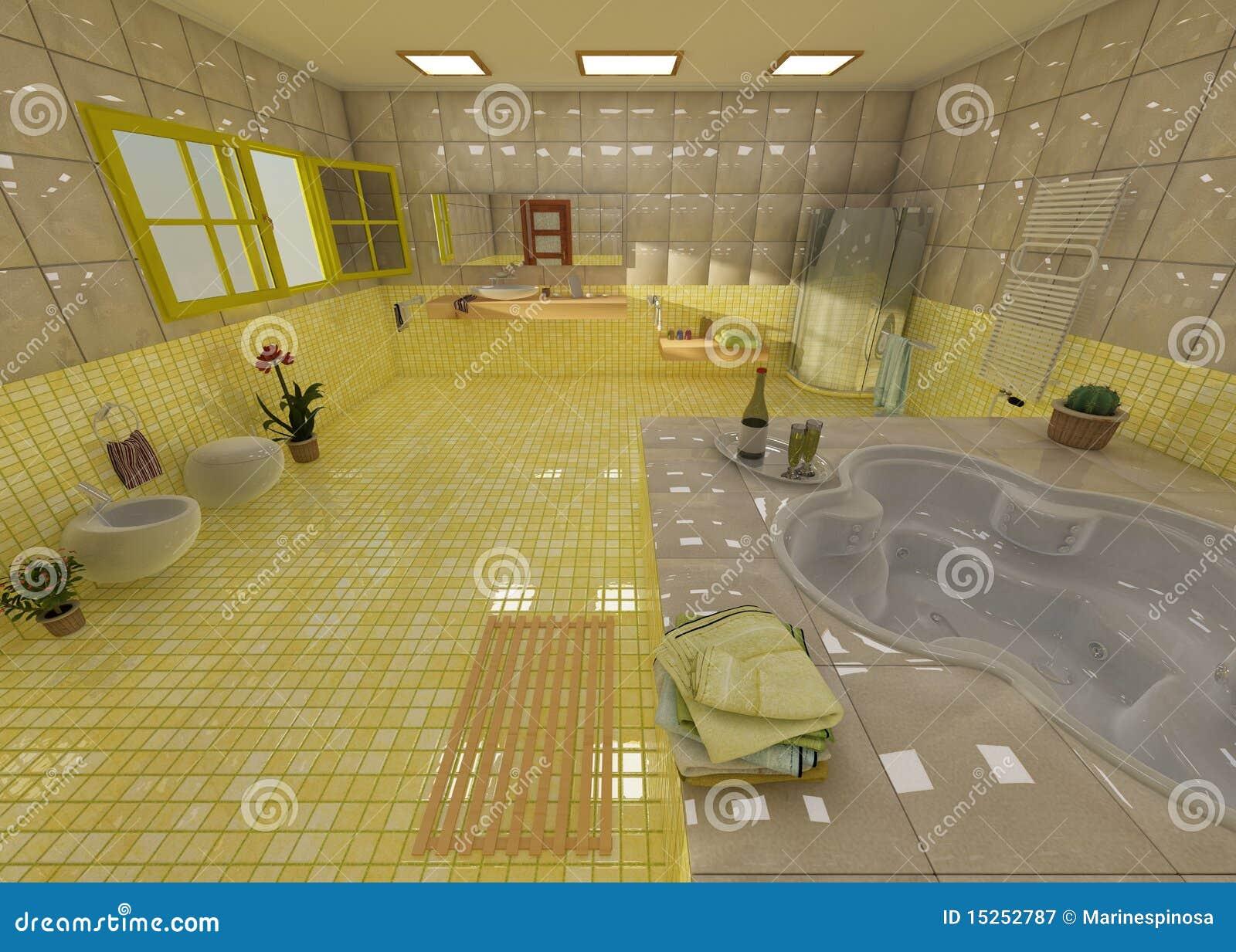 Banheiro Amarelo Luxuoso Em Uns Termas Fotografia de Stock Royalty  #82A12A 1300x1019 Banheiro Com Detalhes Em Amarelo