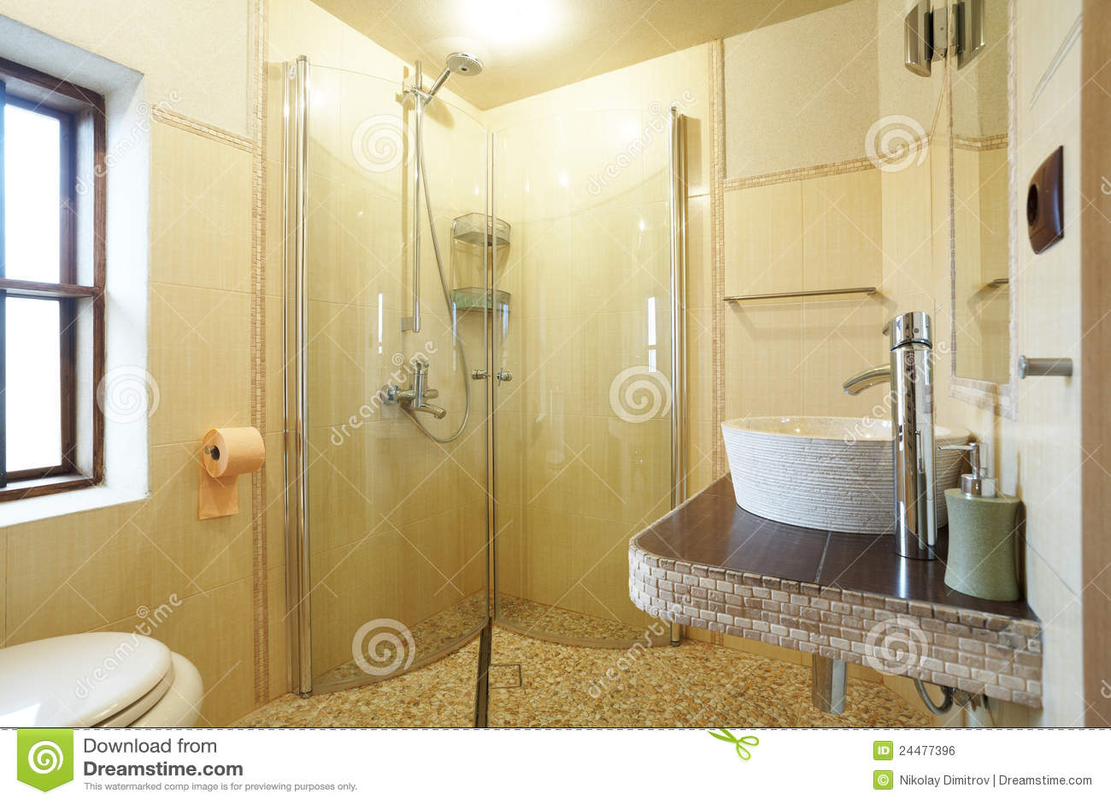 Banheiro Amarelo Moderno Imagem de Stock Royalty Free Imagem  #82A328 1300x957 Banheiro Branco Moderno