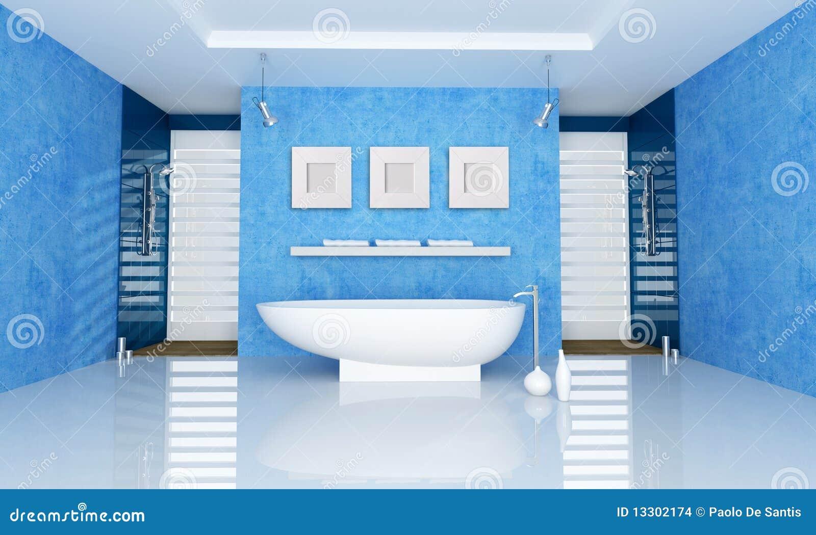 Banheiro azul com banheira do fahion e o chuveiro dobro rendição. #0E3D66 1300x870 Banheiro Com Azul