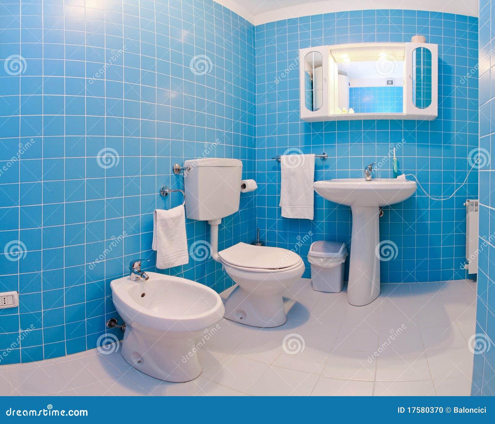 Banheiro Azul Foto de Stock Imagem: 17580370 #084A71 1300x1130 Banheiro Com Azul