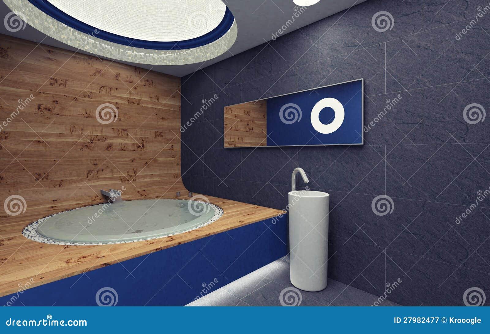 Banheiro azul com madeira e dissipador. #8D663E 1300x903 Azul Para Banheiro