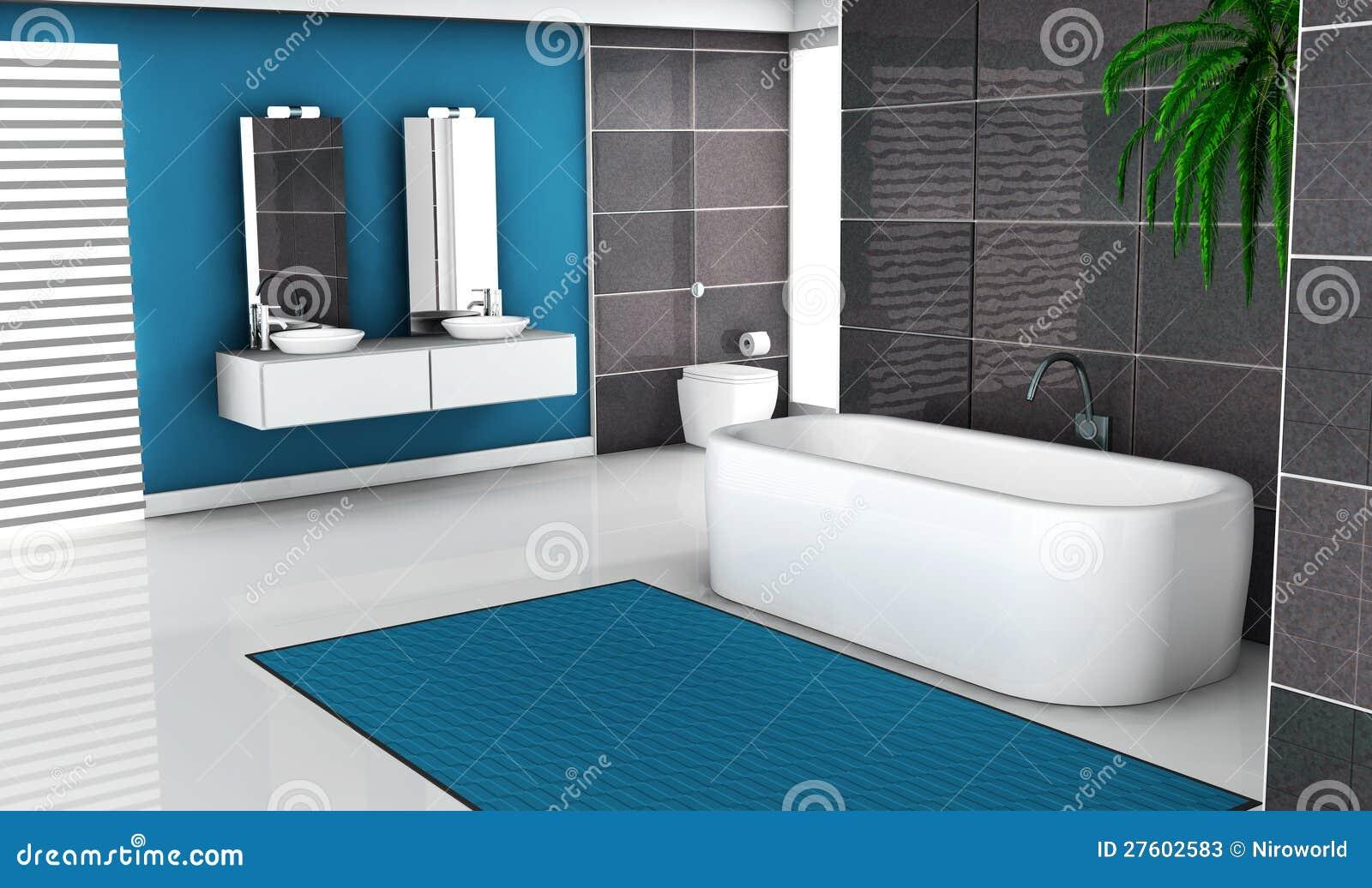 banheiro com projeto preto e azul contemporâneo e o assoalho branco #1B6788 1300x858 Banheiro Azul Com Branco