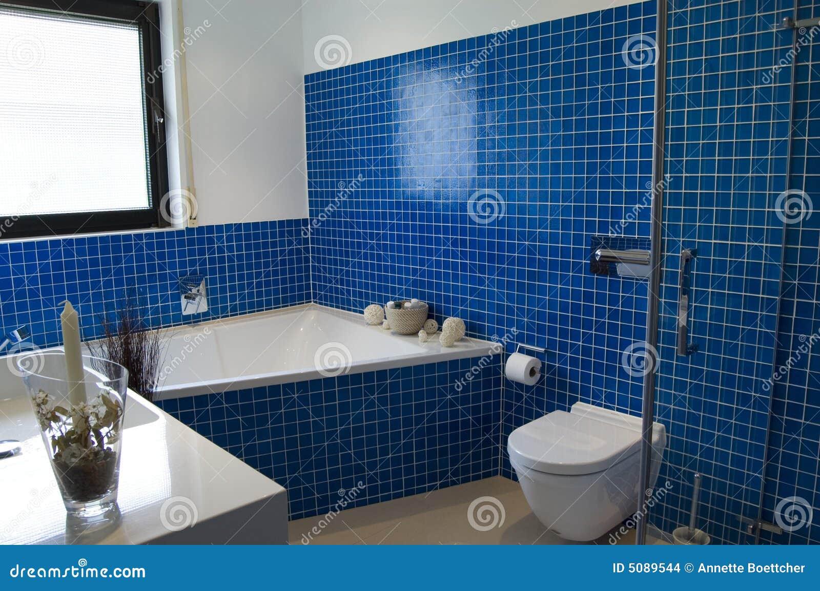 Banheiro Azul Moderno Imagens de Stock  Imagem 5089544 -> Pia Para Banheiro Azul