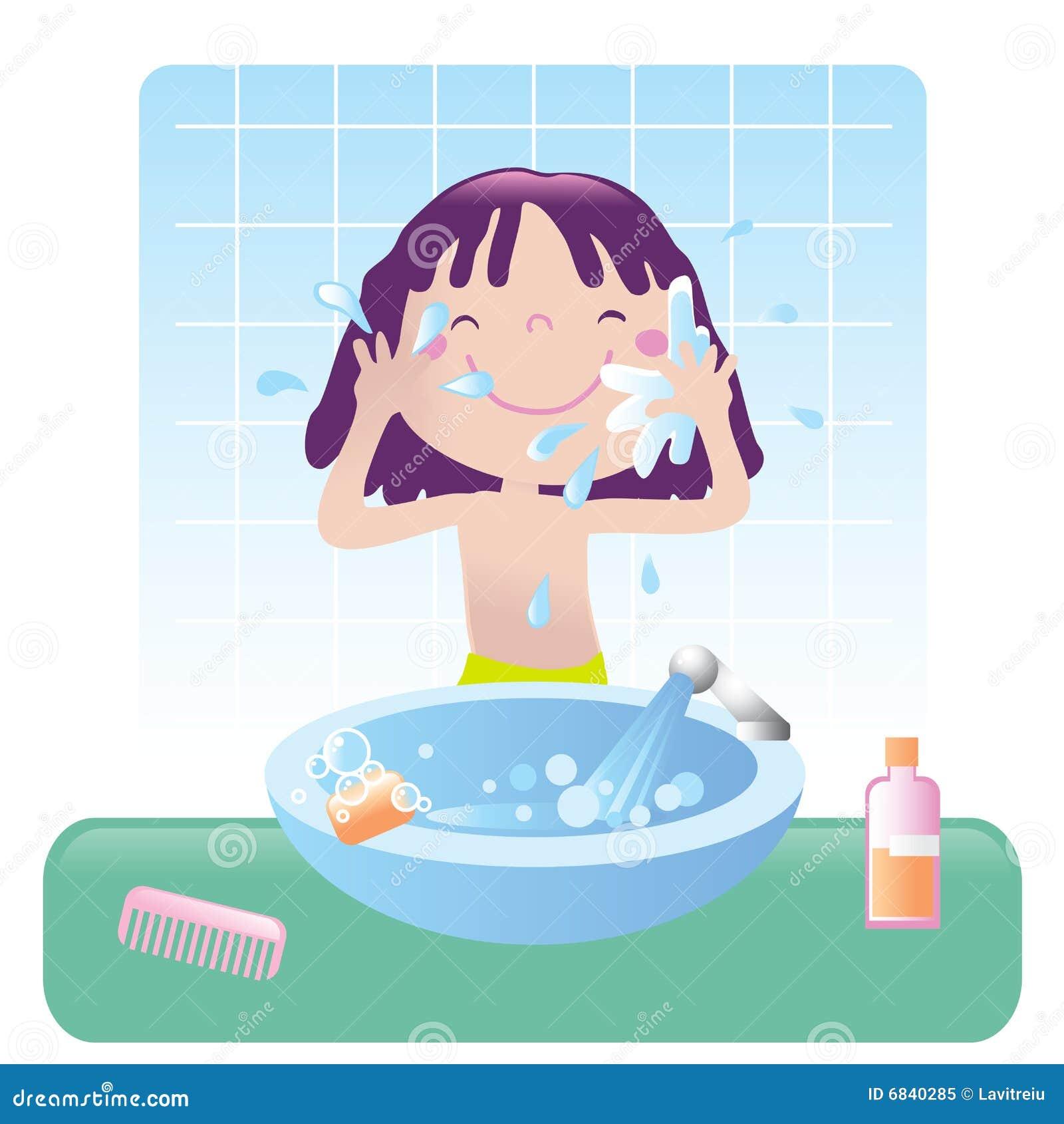Banheiro Bonito Da Menina Foto de Stock Royalty Free Imagem: 6840285 #ABB813 1300 1390