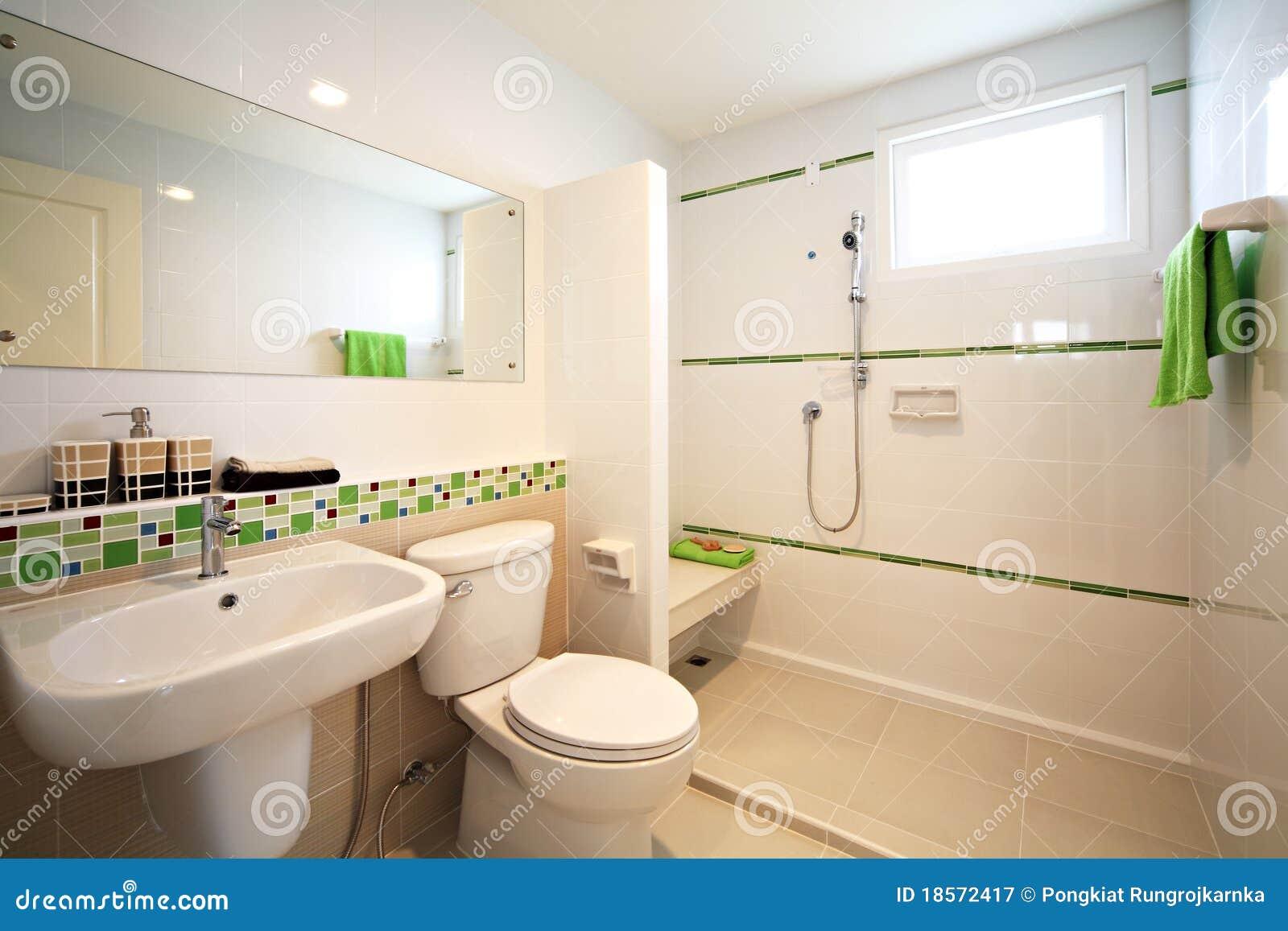 Banheiro Branco Moderno Fotografia de Stock Royalty Free  Imagem 18572417 -> Banheiro Moderno Branco