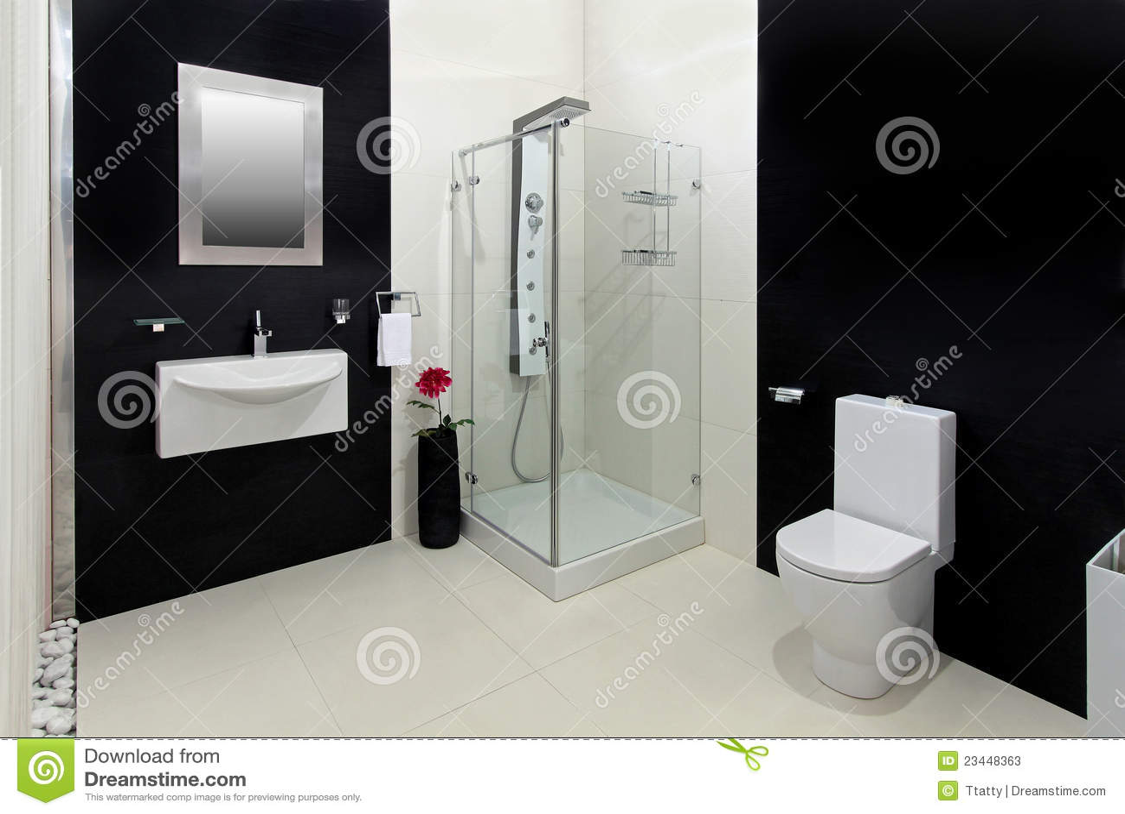 Banheiro Branco Preto Fotos de Stock Imagem: 23448363 #82A328 1300x957 Banheiro Branco Moderno