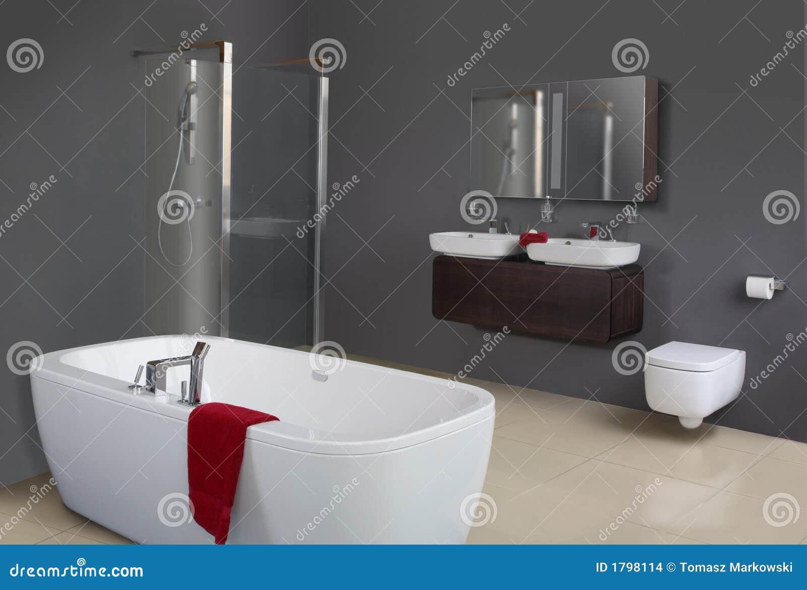 Banheiro cinzento moderno incluindo a banheira o chuveiro as bacias  #641820 1300x967 Banheiro Com Banheira E Chuveiro