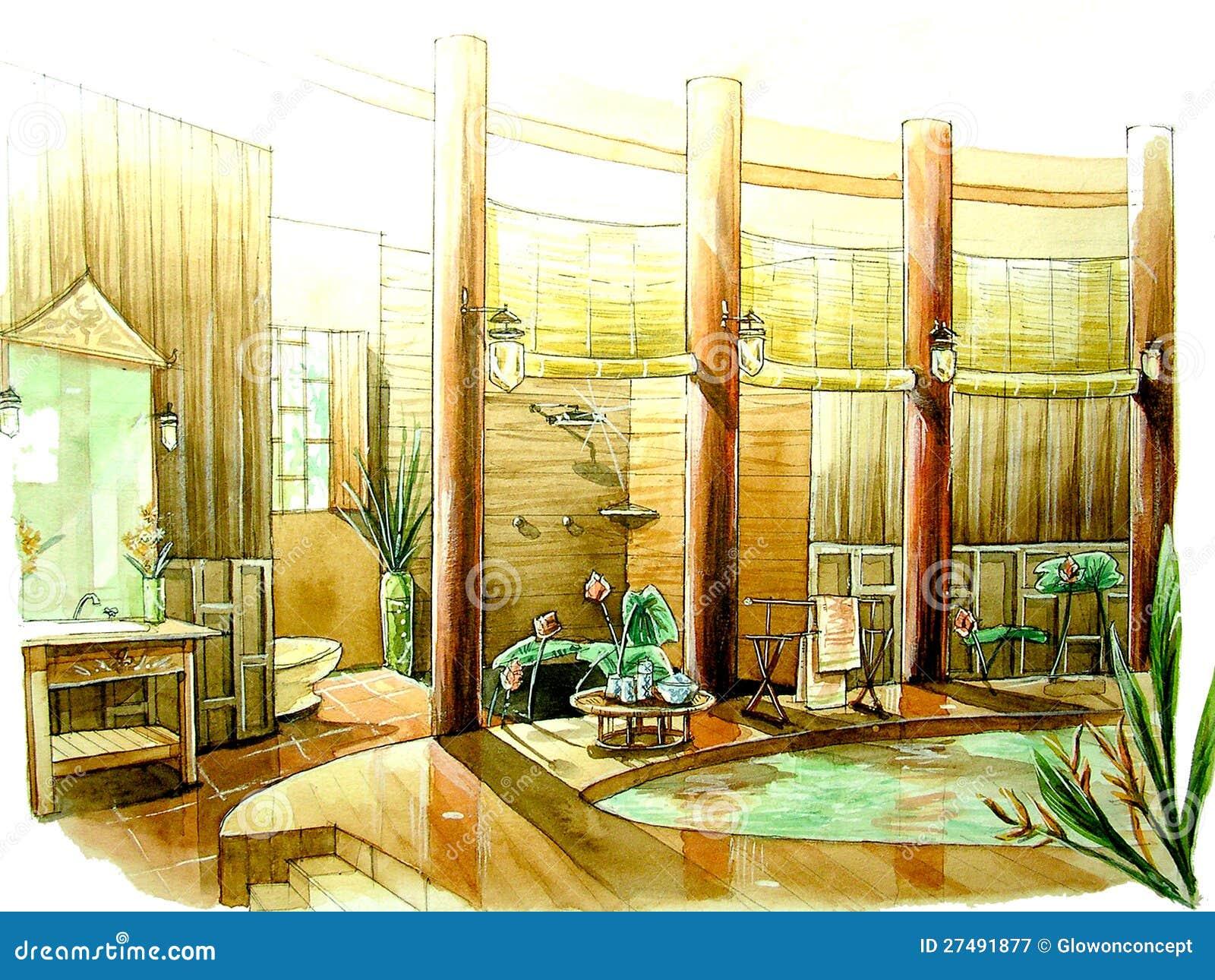 Banheiro Clássico Oriental Asiático Do Estilo Fotografia de Stock  #71410F 1300 1065
