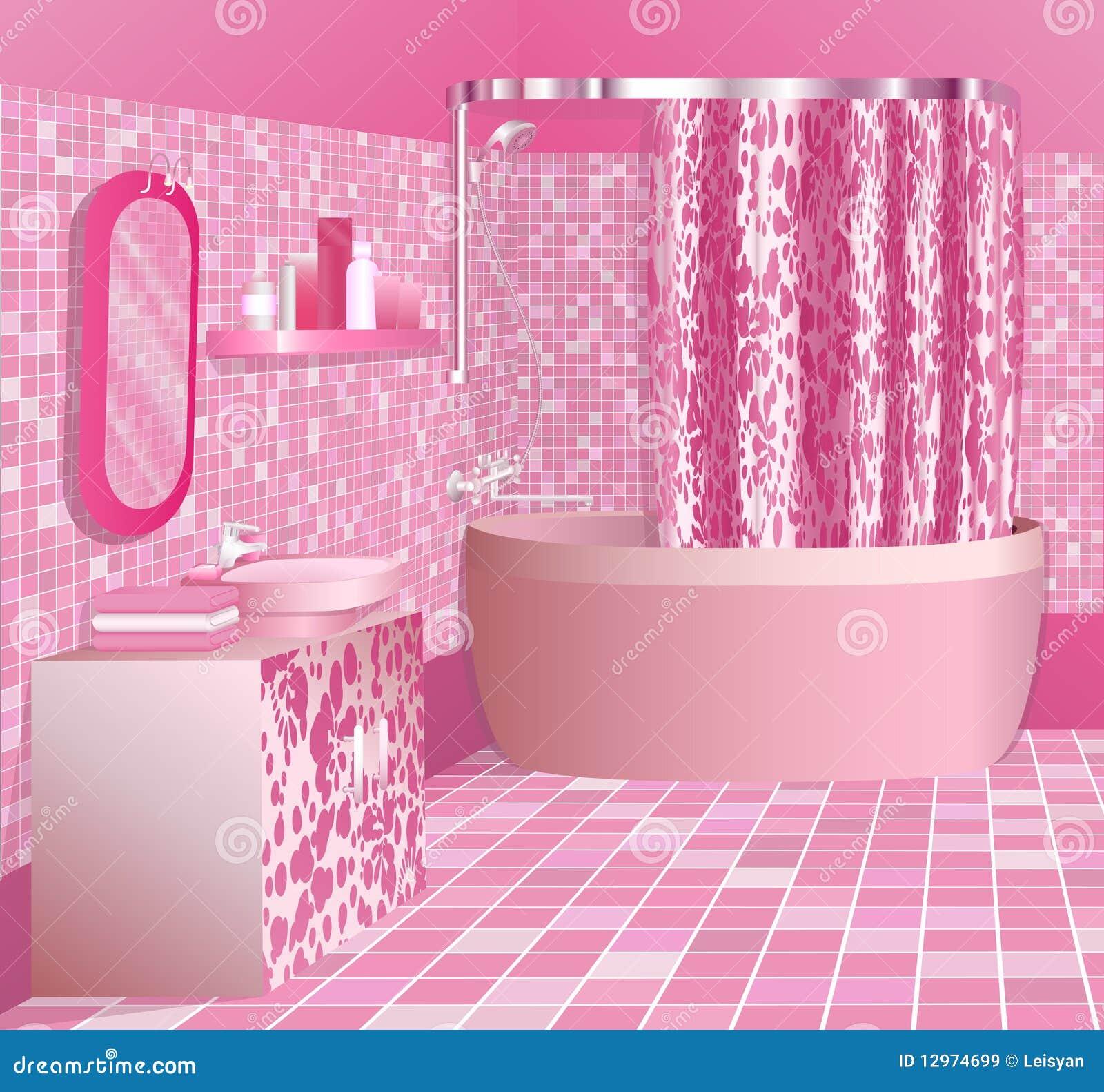 Banheiro Cor de rosa Luxuoso Imagens de Stock Royalty Free Imagem  #84AA21 1300x1302 Balança De Banheiro Rosa