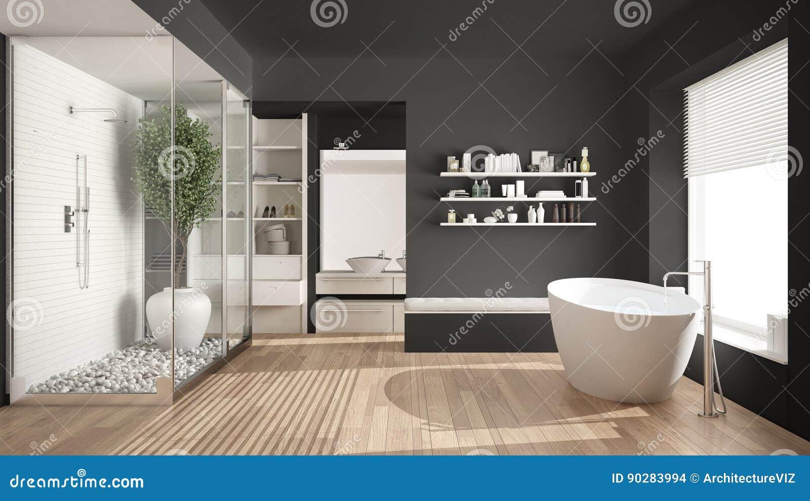 Banheiro escandinavo cinzento minimalista com armário de pessoas sem marcação, classe