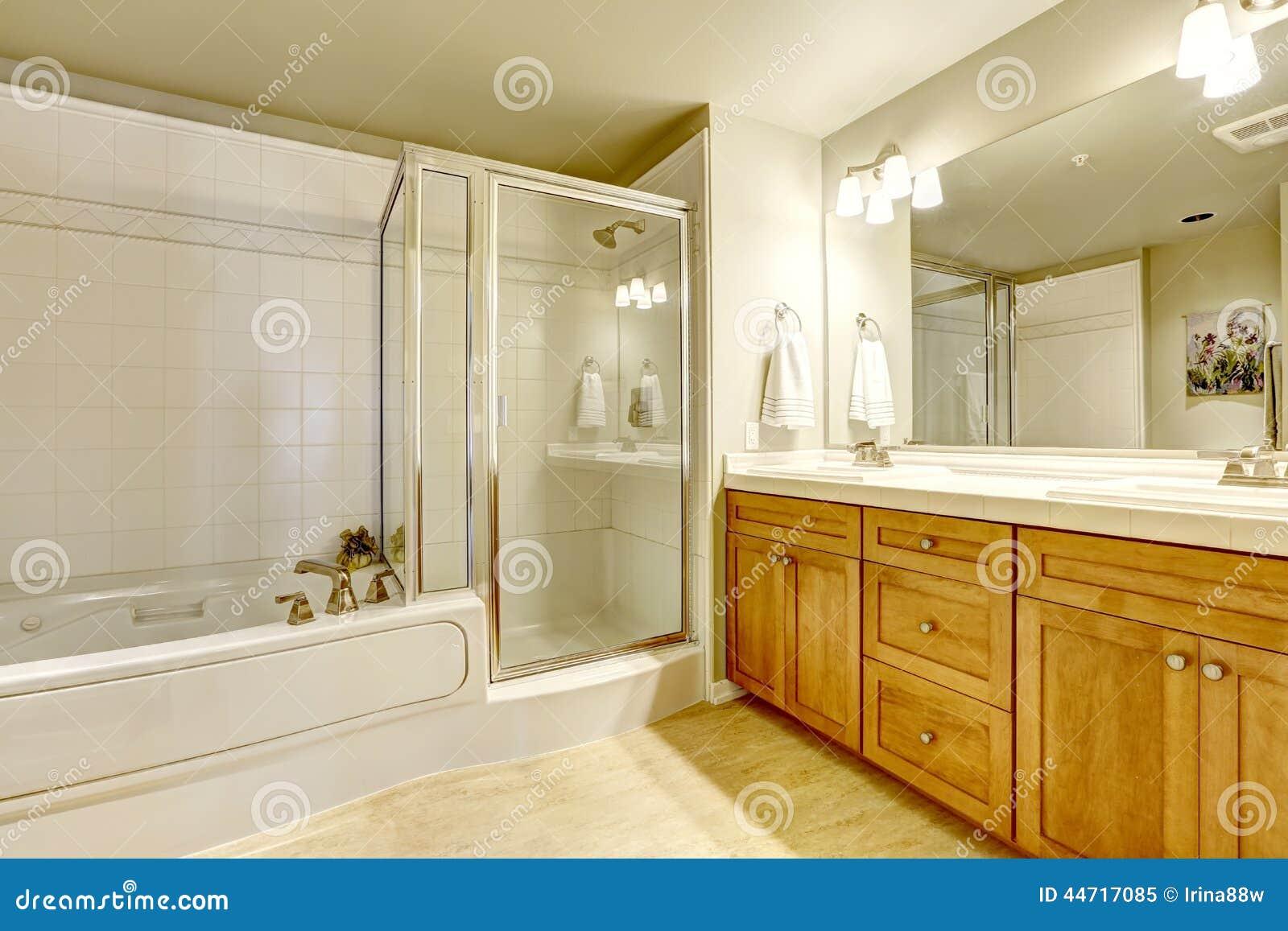Banheiro Espaçoso Com Banheira E Chuveiro Foto de Stock Imagem  #803E0C 1300 957