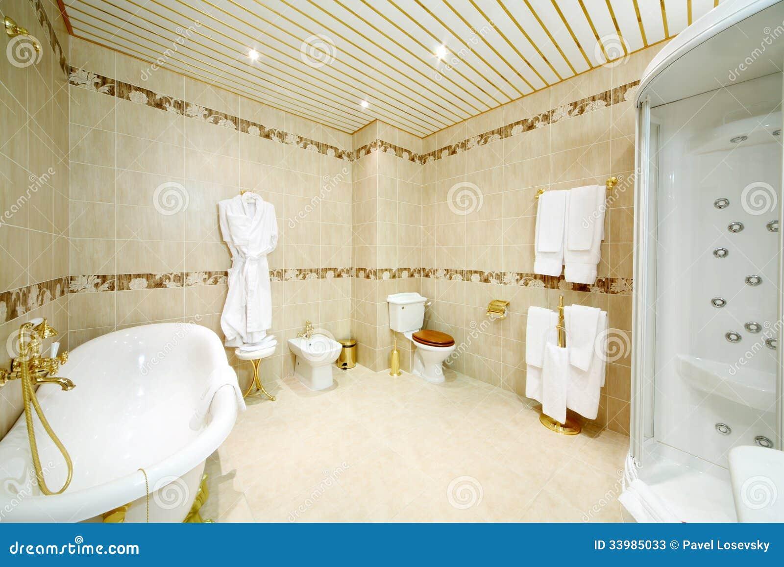 Fotos de Stock: Banheiro limpo com banho cabine do chuveiro toalete  #6D400F 1300 957