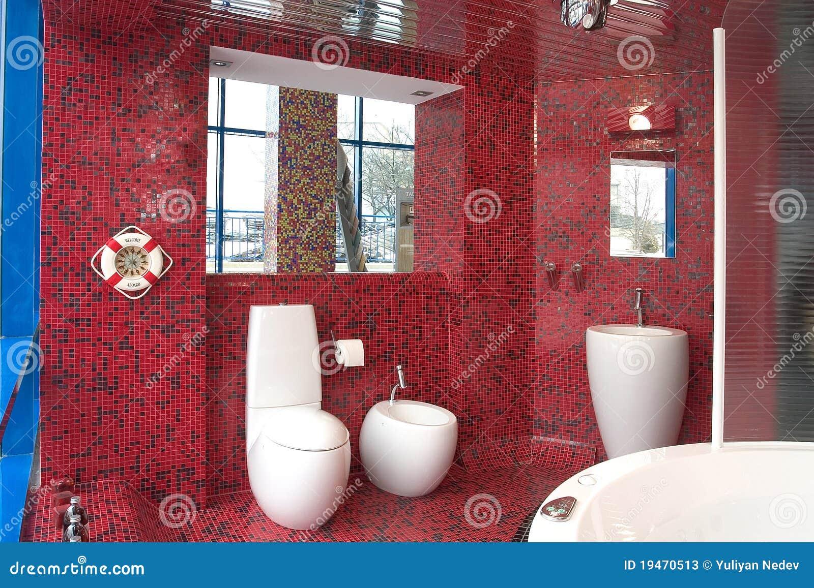 Fotos de Stock: Banheiro luxuoso vermelho #056CC2 1300 957