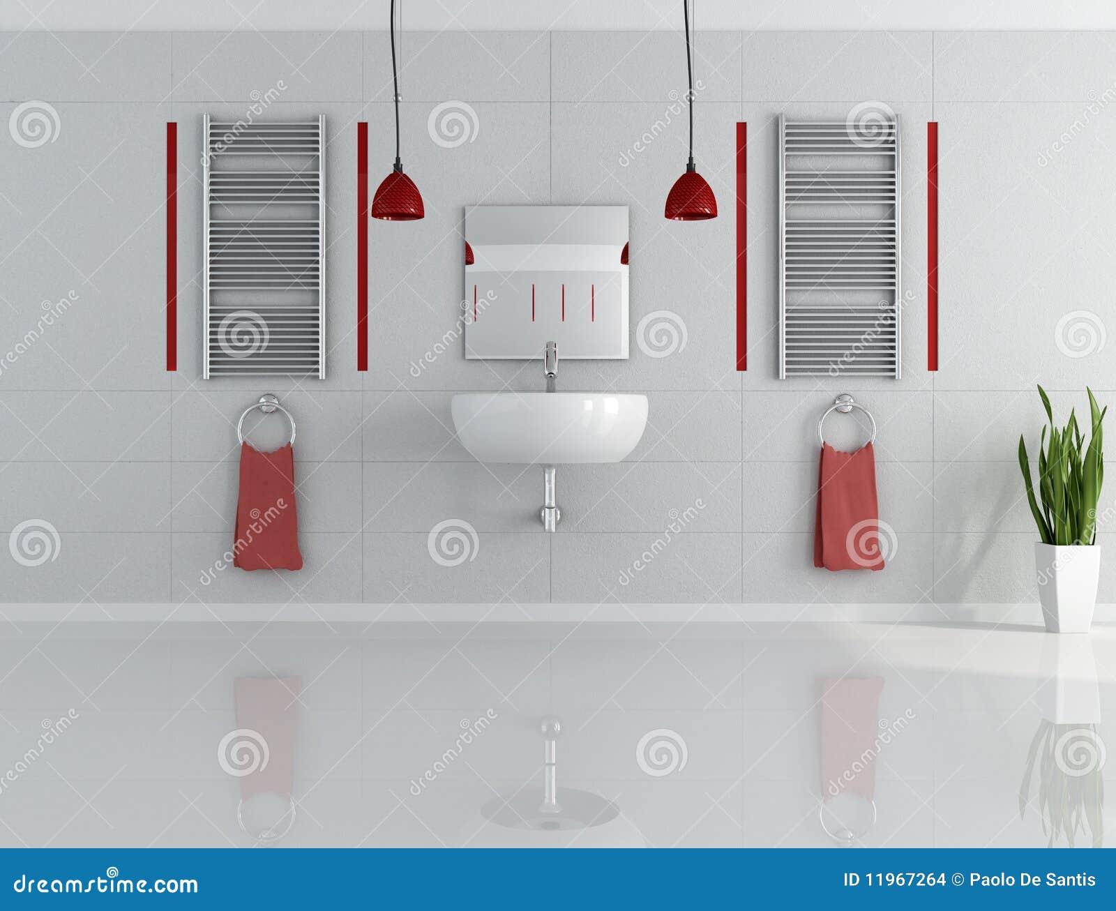 Imagens de Stock: Banheiro minimalista cinzento e vermelho #83A328 1300 1078