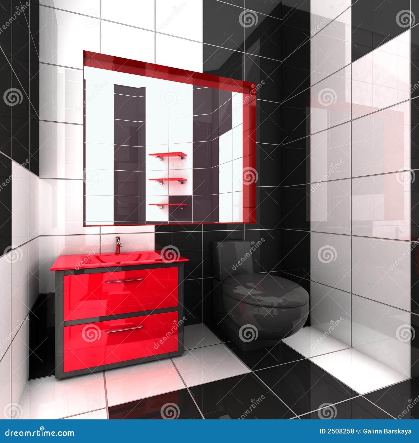 3D de um banheiro moderno no preto no branco e no vermelho #C10A1F 1300 1390