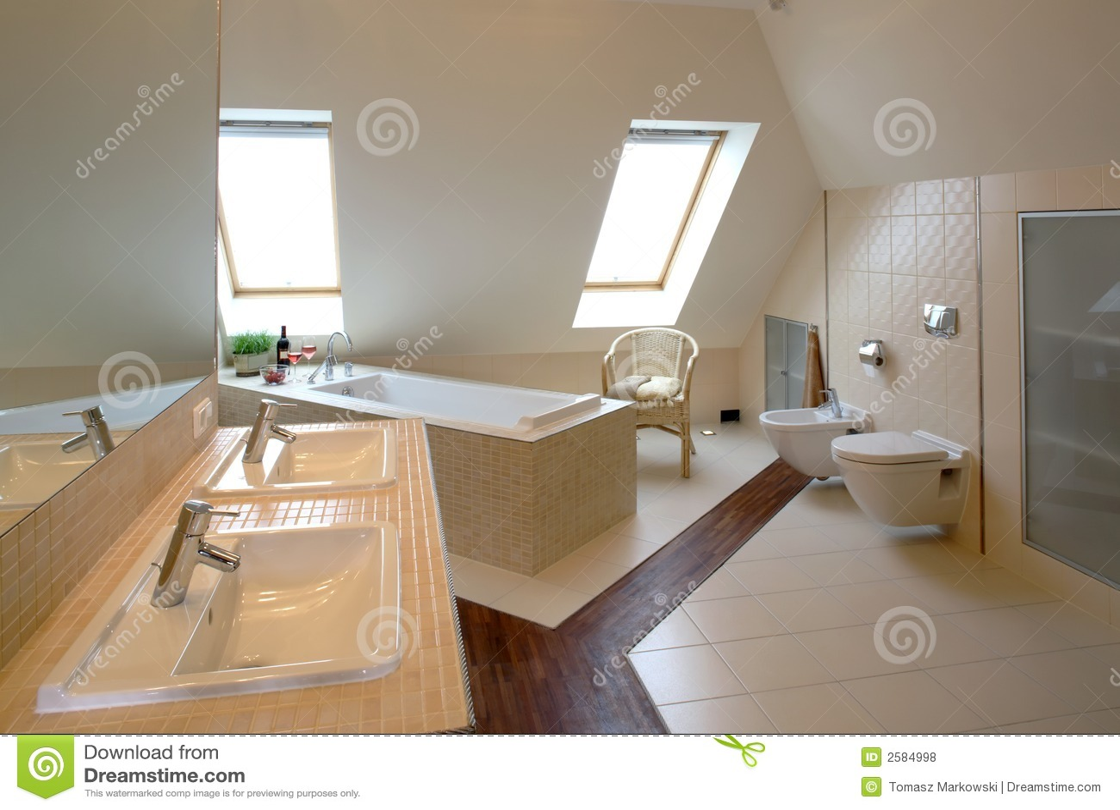 Banheiro Moderno Fotos de Stock Royalty Free Imagem: 2584998 #82A229 1300x957 Banheiro Bege Moderno