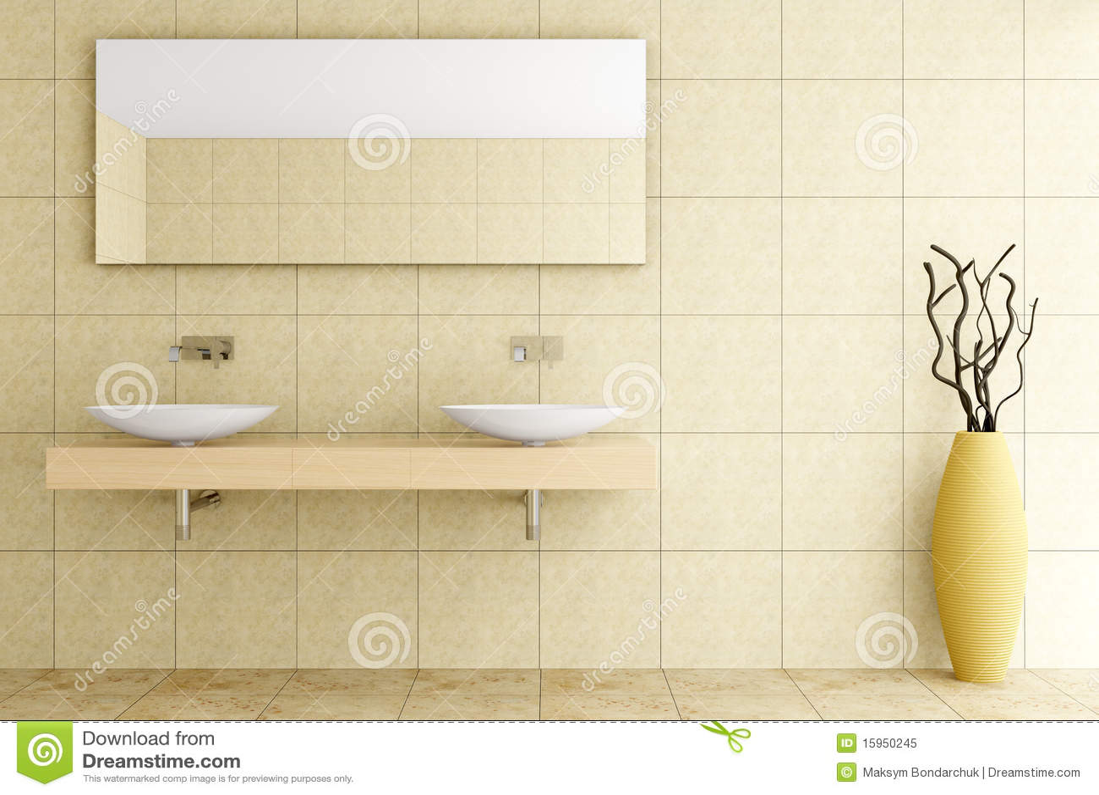 de Stock Royalty Free: Banheiro moderno com as telhas bege na parede #82A328 1300x957 Banheiro Bege Com Verde