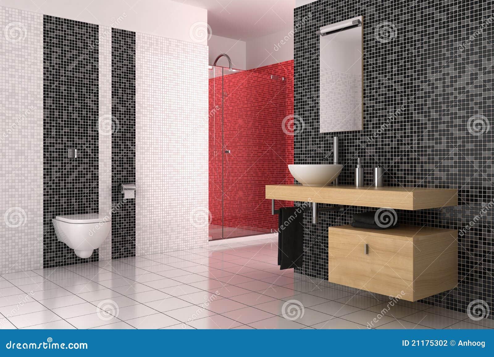 Banheiro moderno com as telhas pretas vermelhas e brancas ilustra o stock ilustra o de - Piastrelle bagno rosse ...