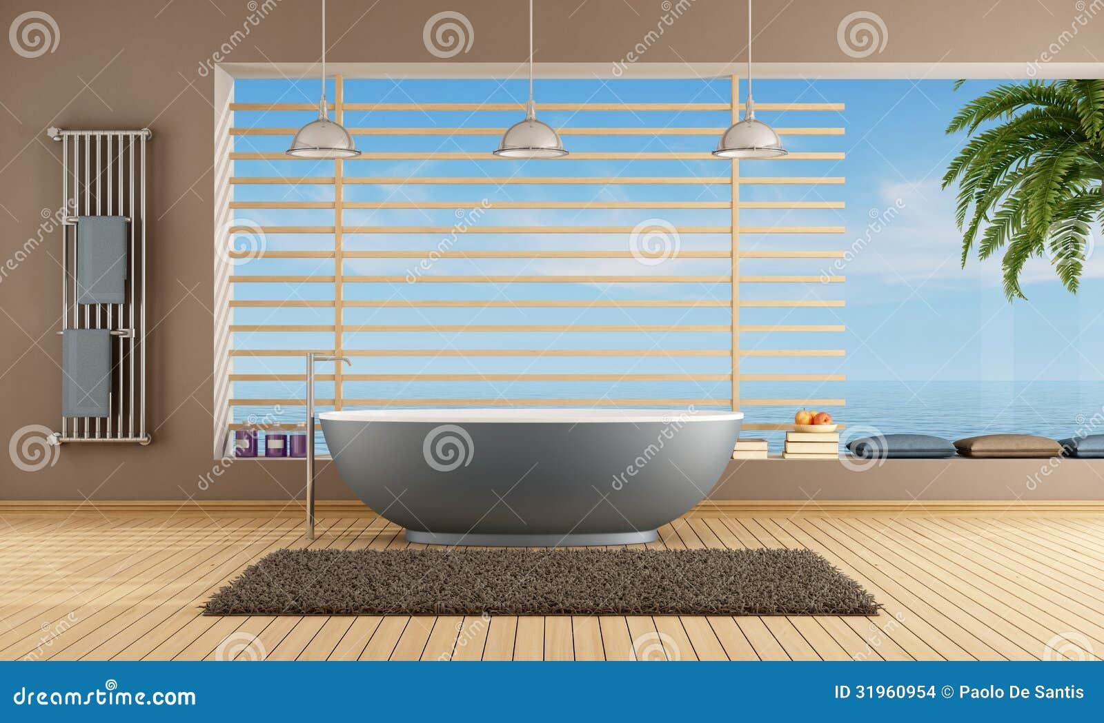 Banheiro Moderno Com Banheira Azul Imagens de Stock  Imagem 31960954 -> Banheiros Modernos Azul